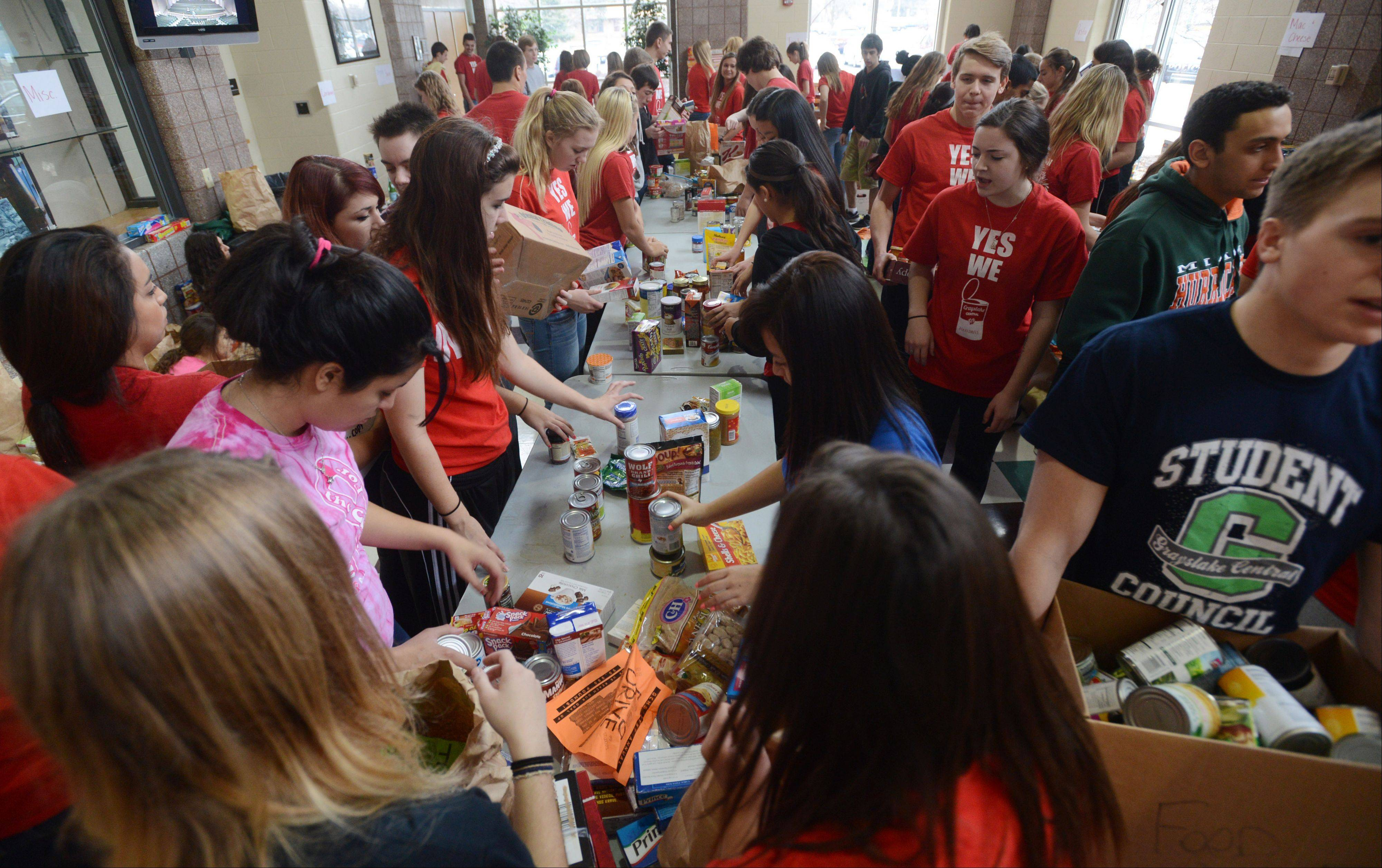 Students from the Grayslake Central High School's student council and public service practicum packaged up 50,000 pounds of food on Friday for their 21st Annual Food Drive.