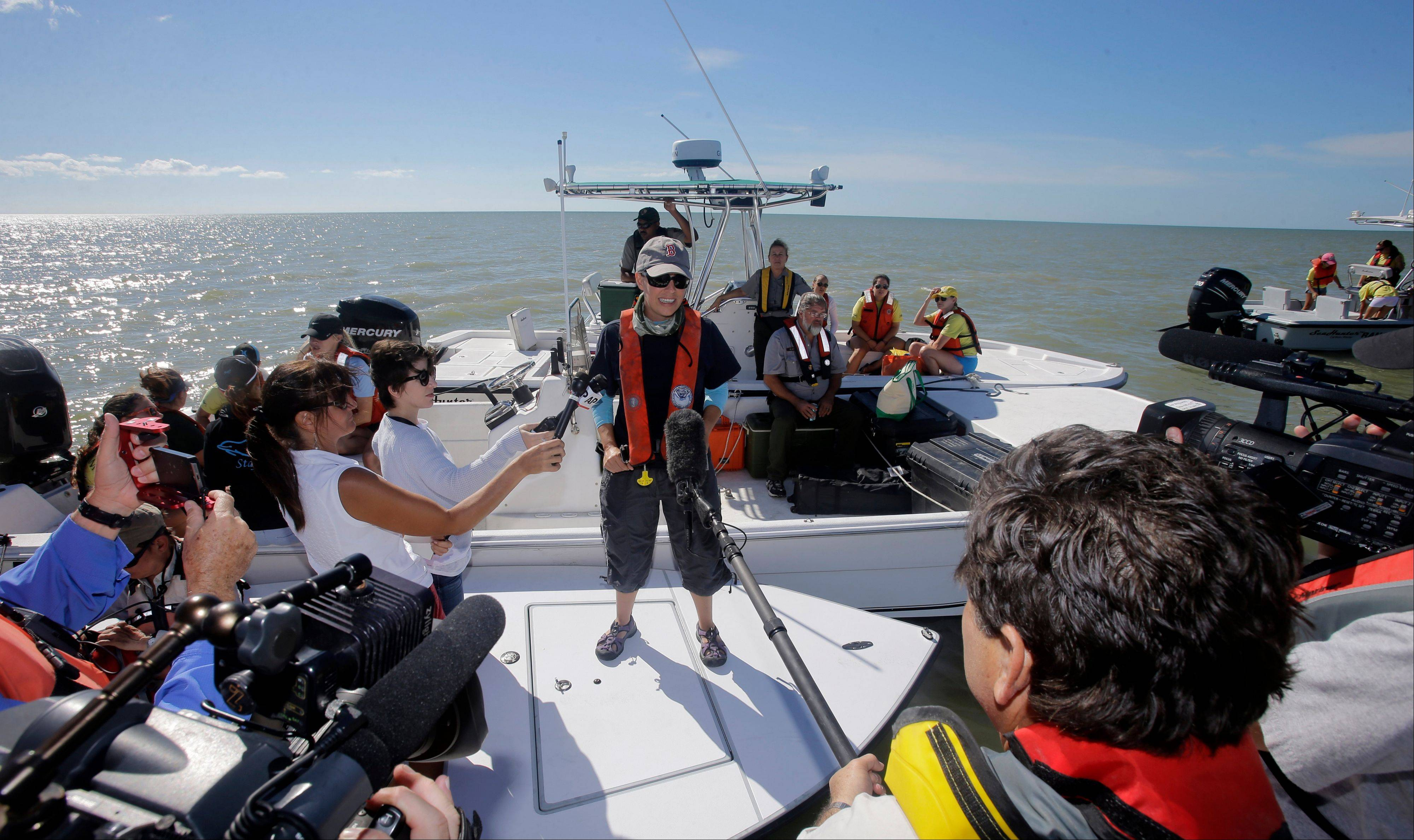 NOAA strandings official, Liz Stratton, informs reporters the pod in deeper water could reach as many as 30 animals and that they were about 11 miles offshore at midday, Thursday, Dec. 5, 2013, in the Everglades National Park, Fla.