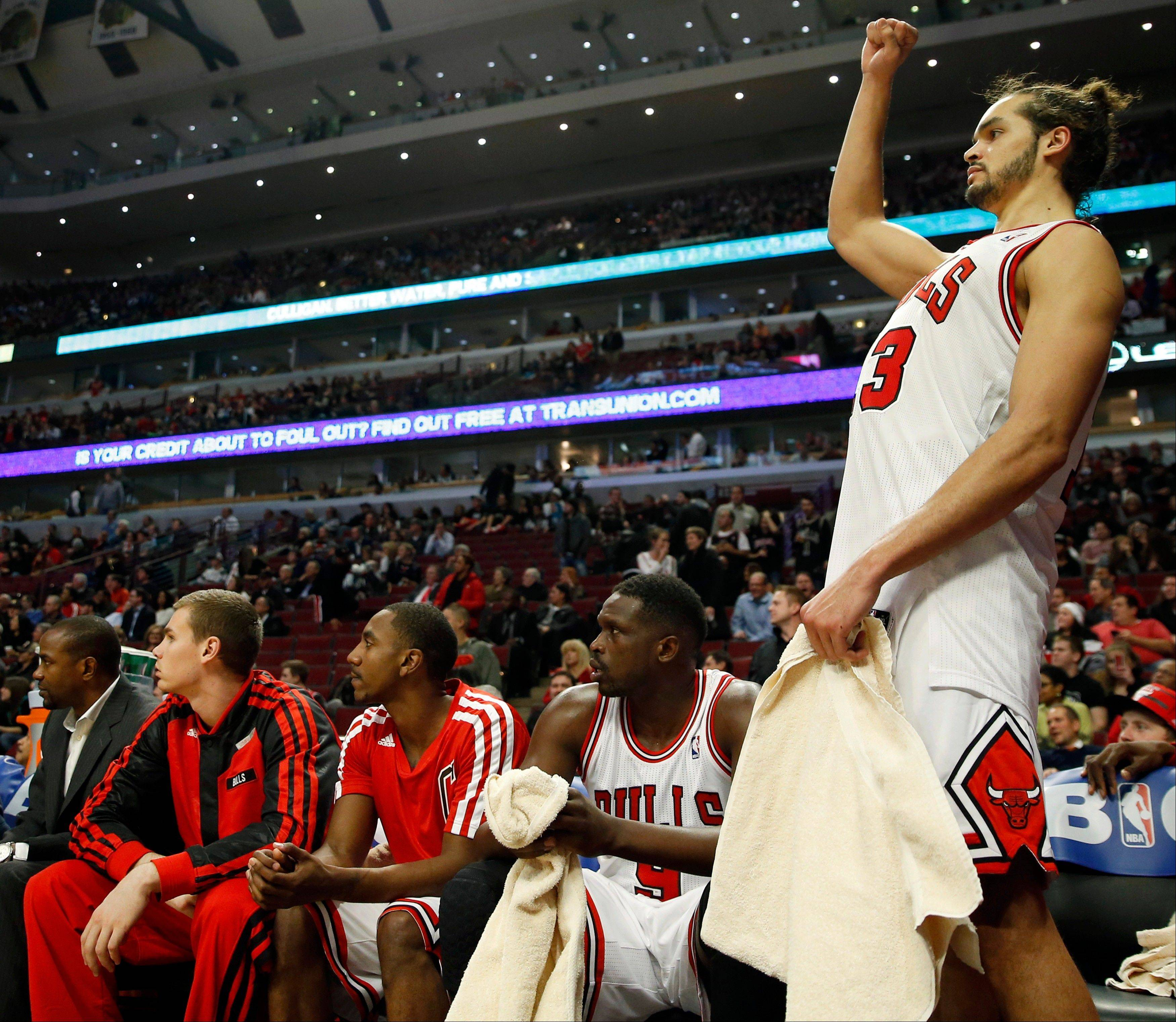Joakim Noah celebrates the Bulls� 107-87 victory over the Heat on Thursday at the United Center.