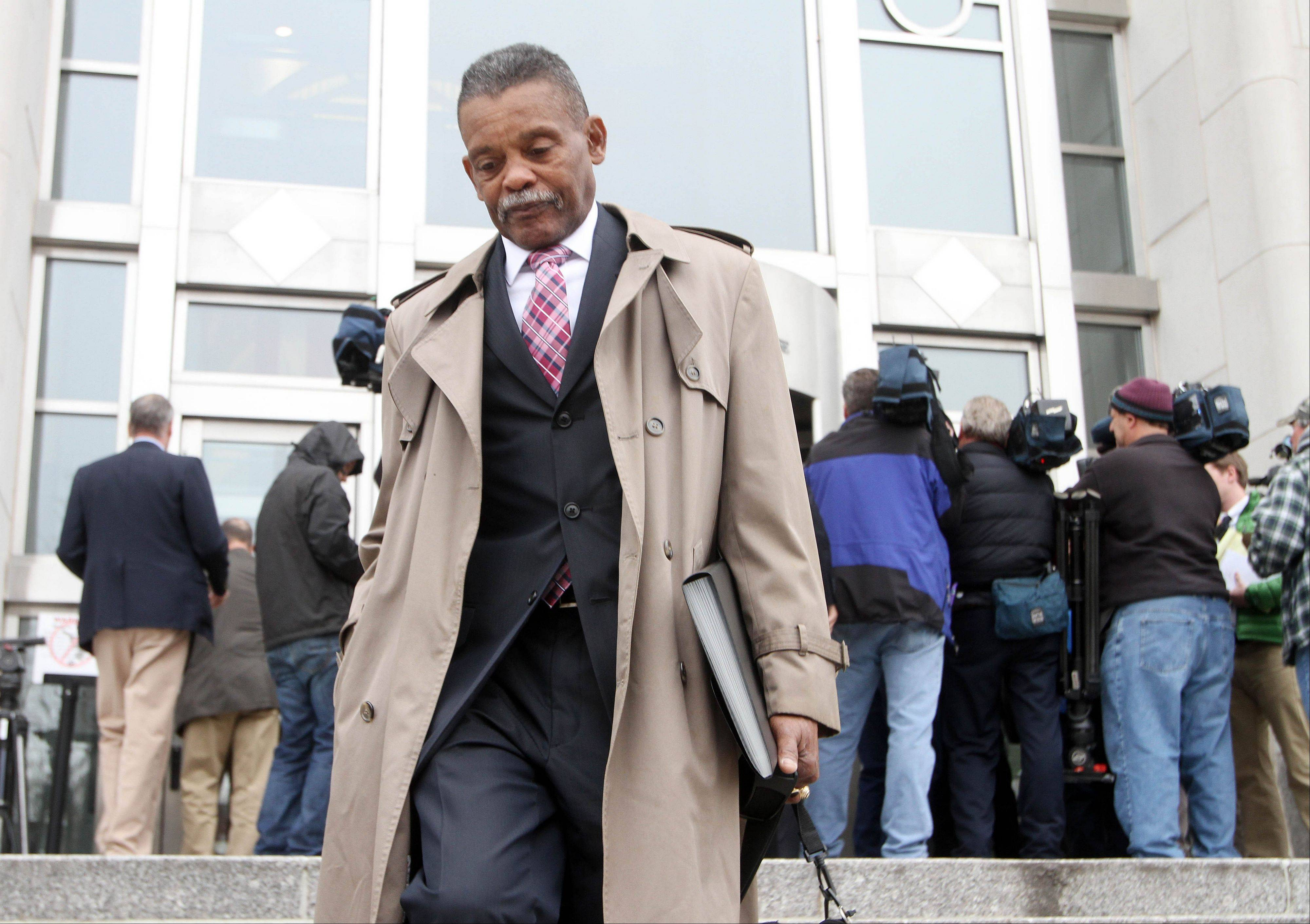 Linwood Nelson, who was infected with hepatitis C when he went in for a procedure at the Baltimore VA Medical Center in 2012, leaves U.S. District Court in Concord, N.H., Monday after testifying against David Kwiatkowski, a medical technician who infected him. Kwiatkowski was sentenced to 39 years in prison for stealing painkillers and infecting dozens of patients in four states with hepatitis C through tainted syringes. His victims have new hope for improved treatment with FDA's approval Friday of the drug Sovaldi.