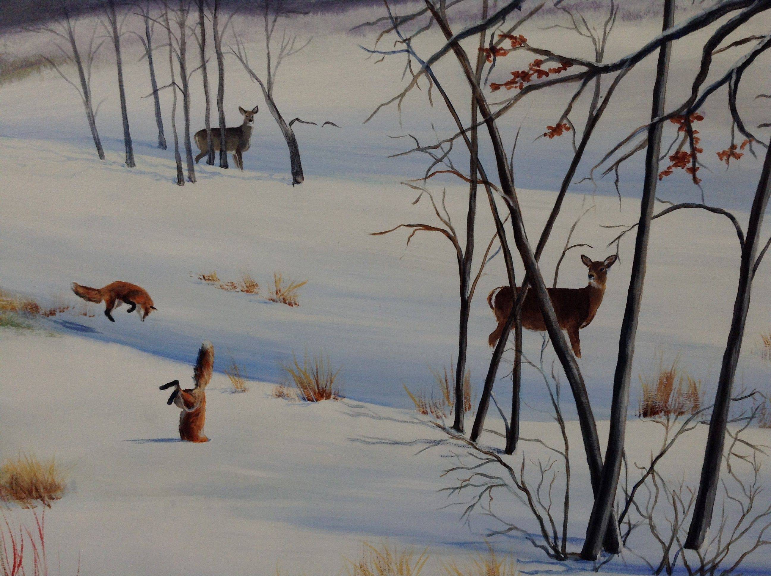 This is a scene in the winter quarter of Barrington artist Susan Hanson's 35-foot-long nature mural at Barrington Unit District 220's Early Learning Center.