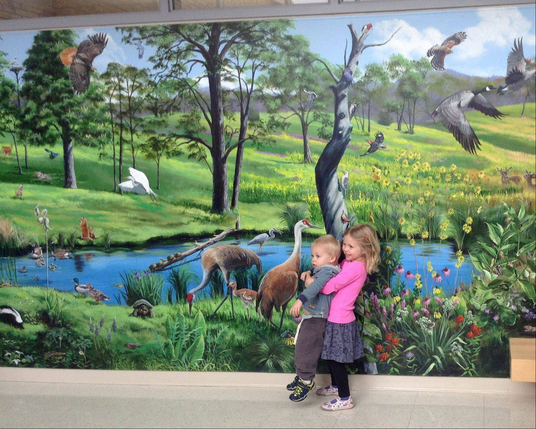 Nyla Palumbo removes her brother Barrett Palumbo from in front of the 35-foot-long nature mural painted by their grandmother, Susan Hanson of Barrington, just before its dedication at Barrington Unit District 220's Early Learning Center Friday.