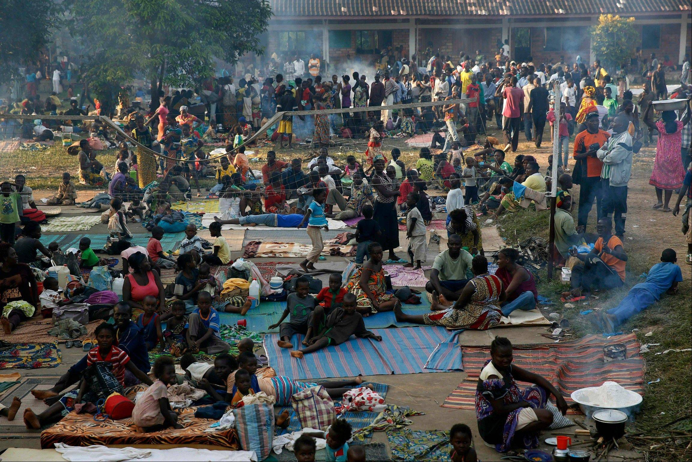 Internally displaced people gather Saturday in the Don Bosco Center outside Bangui, Central African Republic, fearing reprisal attacks from the Muslim ex-rebels who control the territory.