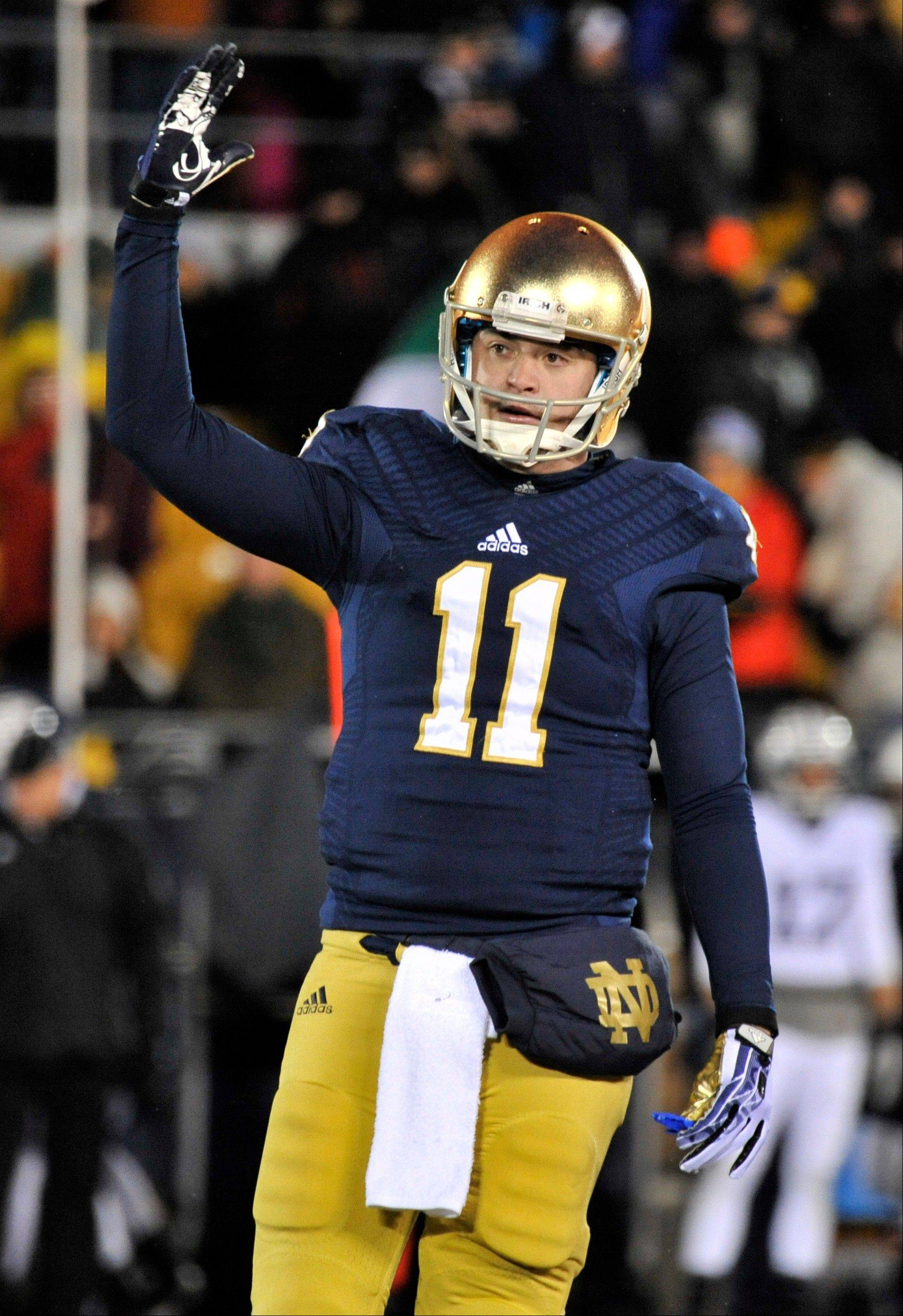 Notre Dame quarterback Tommy Rees and rest of the Fighting Irish will play in the Pinstripe Bowl later this month.