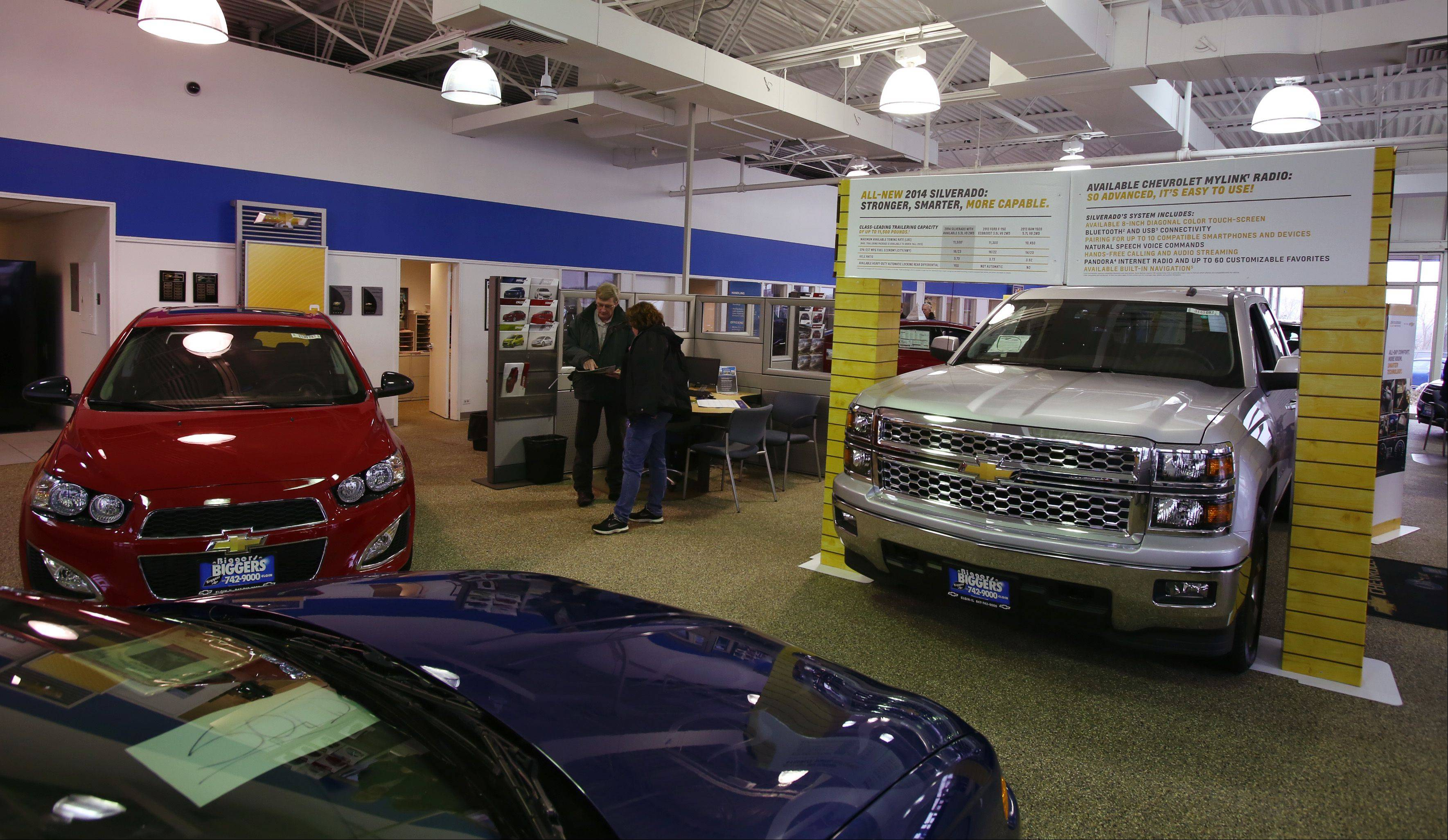 A view of the showroom at Biggers Chevrolet in Elgin.