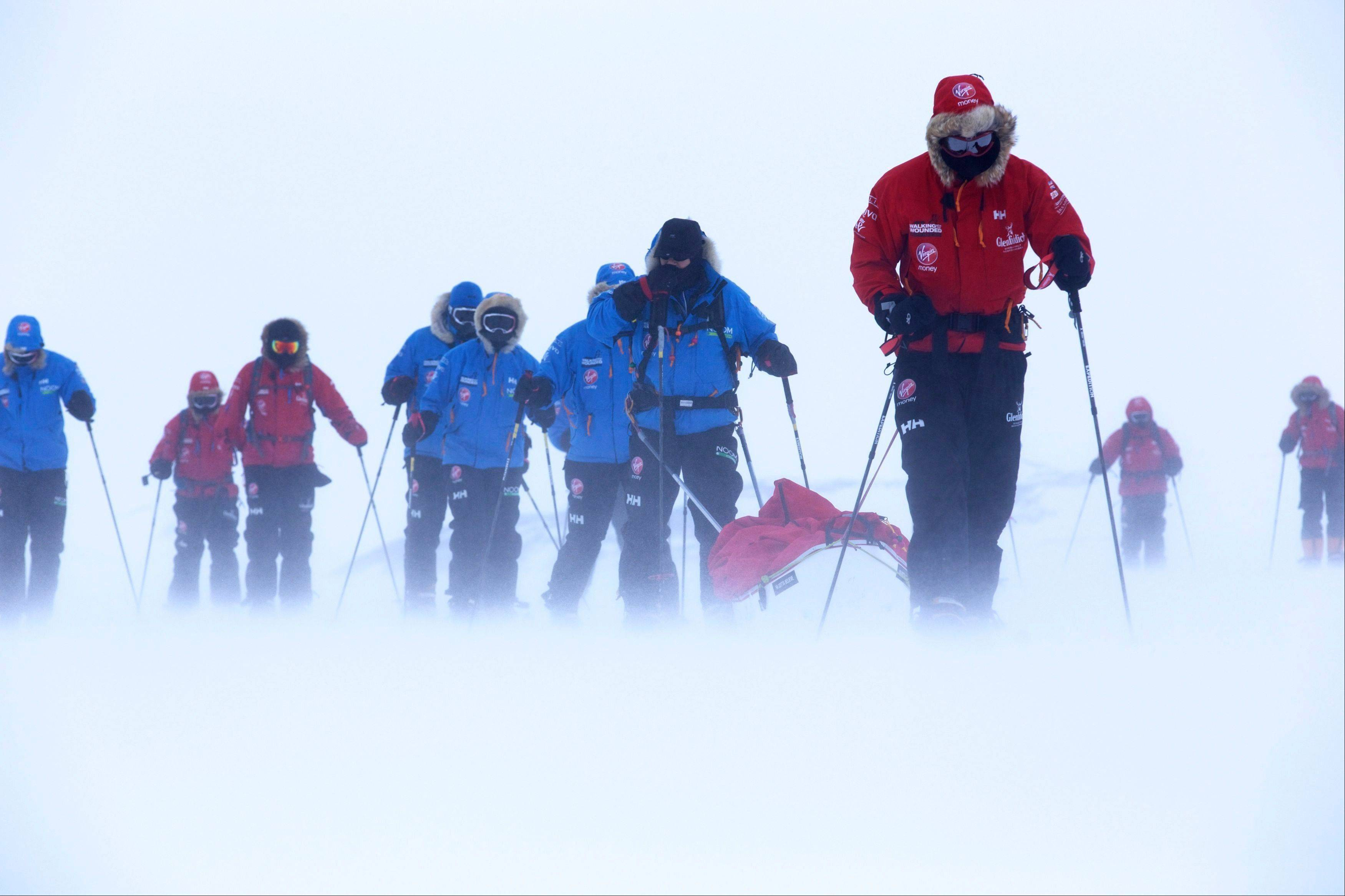Britain's Prince Harry, right, during training near Novo, Antarctica, ahead of an Antarctic charity race.