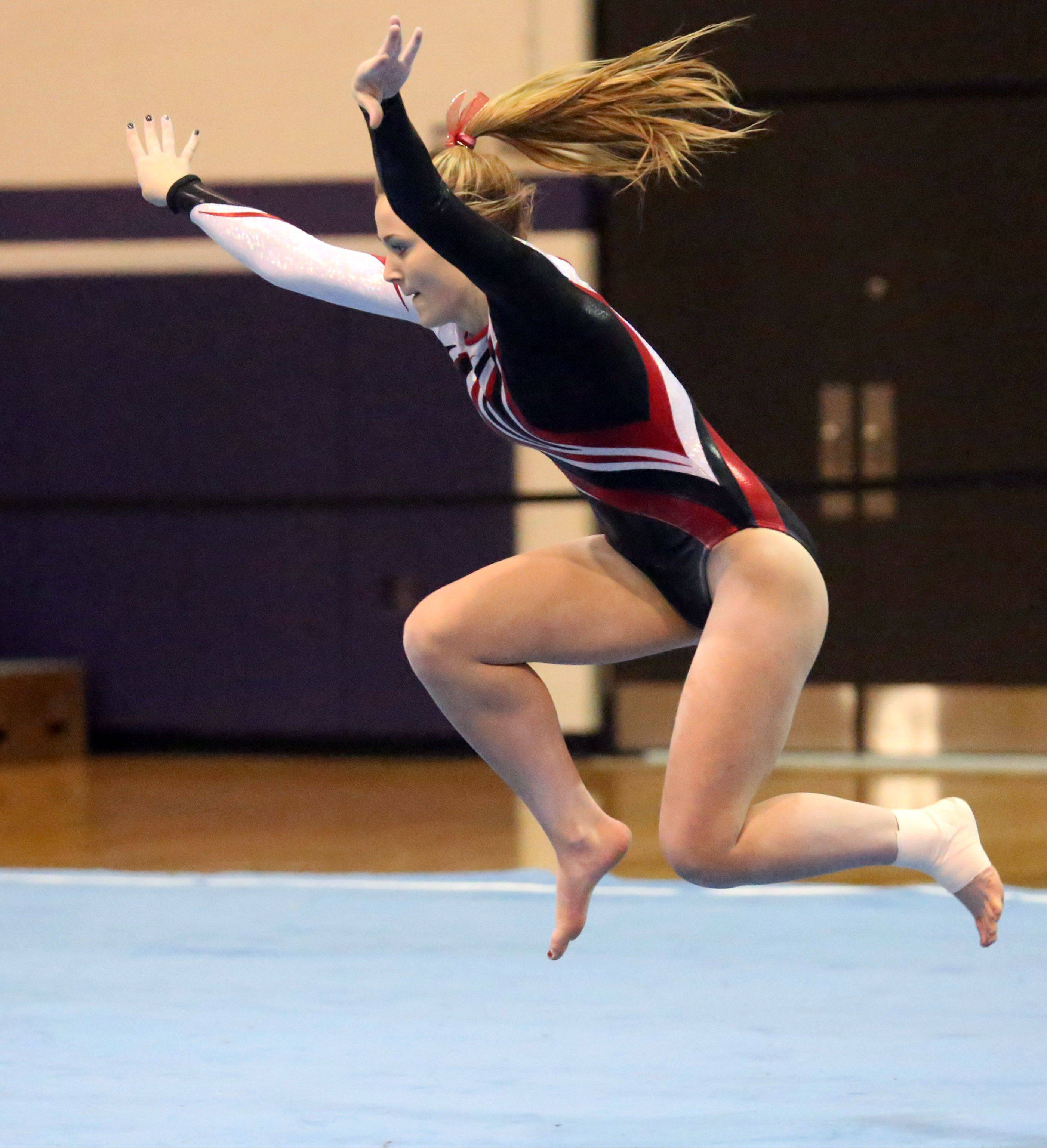 Barrington's Tara Schuman competes on the floor at the Rolling Meadows Al Galatte Invitational on Saturday.