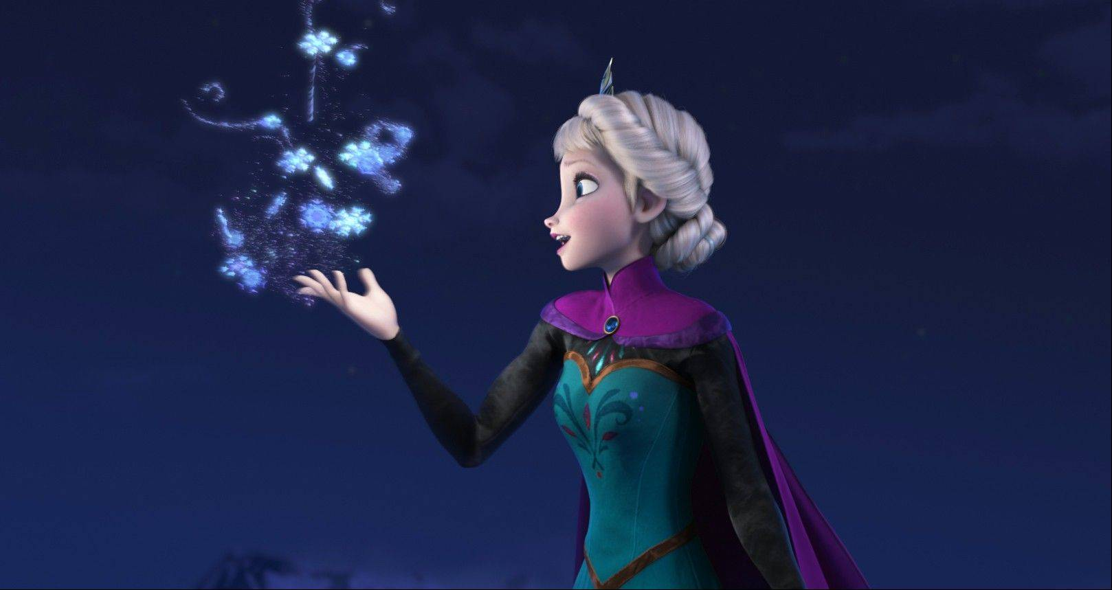 This image released by Disney shows Elsa the Snow Queen, voiced by Idina Menzel, in a scene from the animated feature �Frozen.� The animated musical took the top spot at the box office in its send weekend of release with a $36.1 million haul.