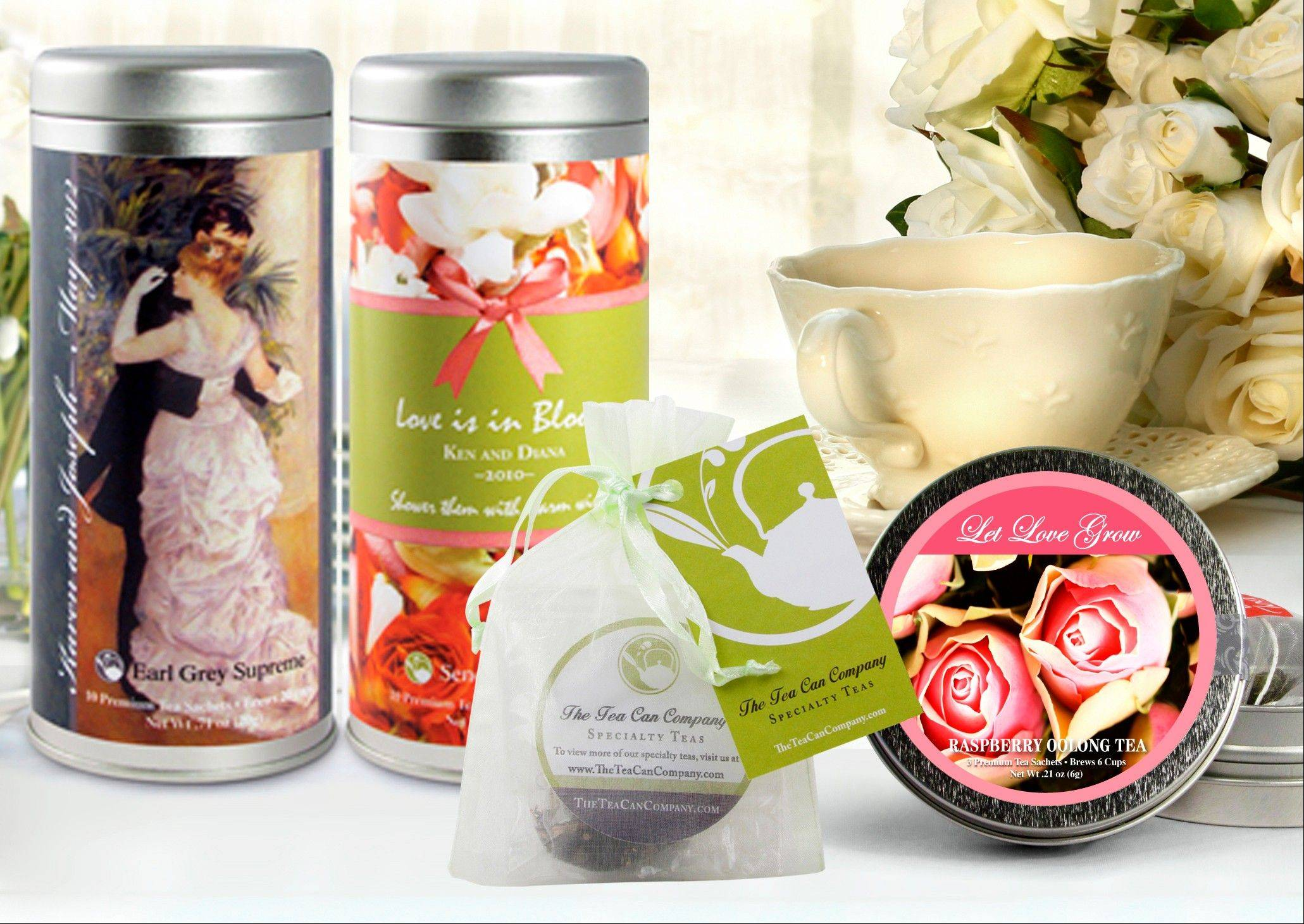 The Tea Can Company showcases Wedding Tea Specials, a range of personalized products offered by The Tea Can Company, from left, Tall Tins, Organza bags and Mini Tins, for weddings and bridal showers. The wedding favor, that little thank-you-for-coming gift, has risen to new heights with the bride and groom giving guests a wide range of favors that are meaningful to them.