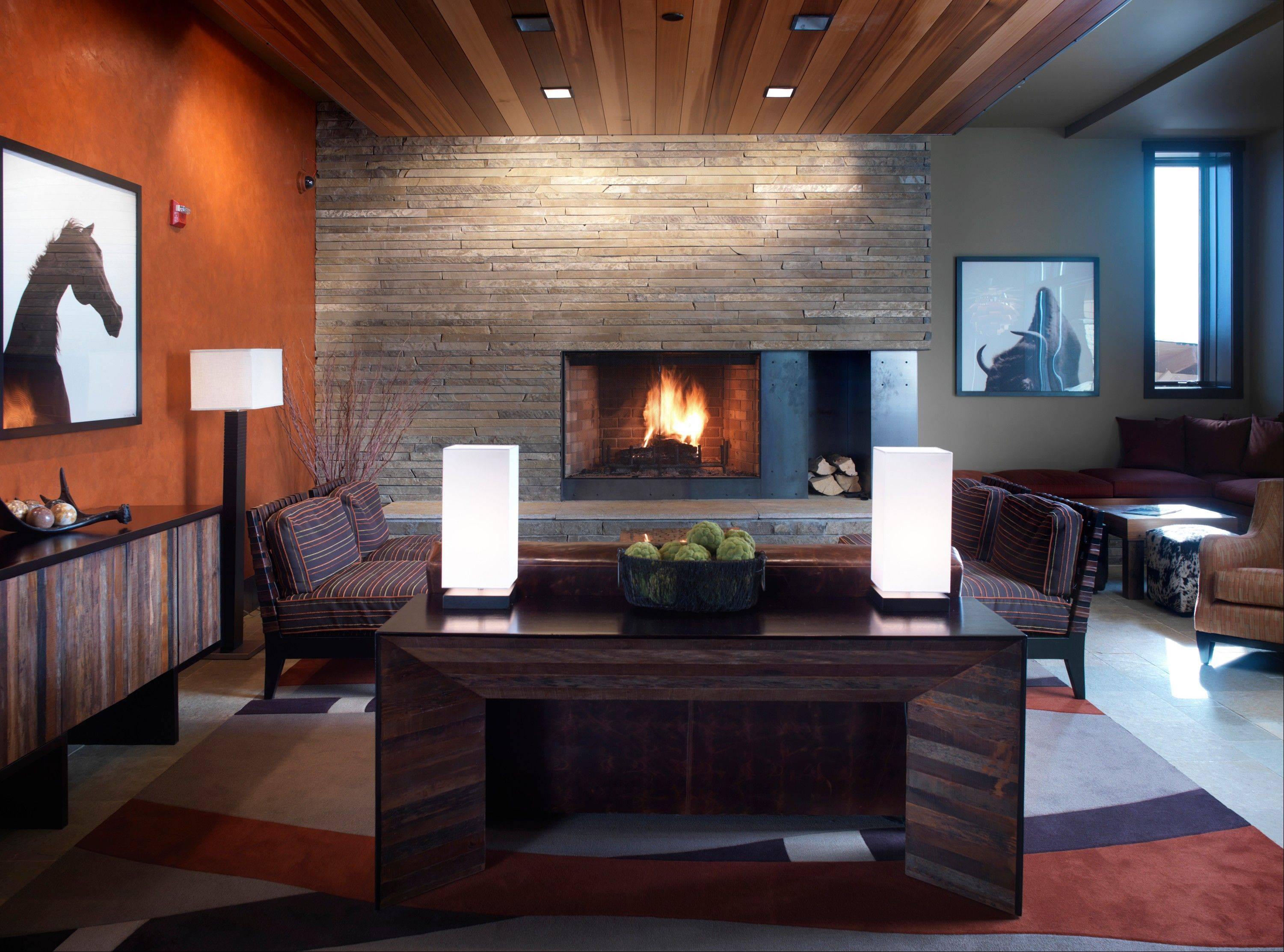 The lobby of Hotel Terra in Jackson Hole, Wyo., shows a contemporary look in contrast to the rustic chalet-style designs traditional in ski lodges.