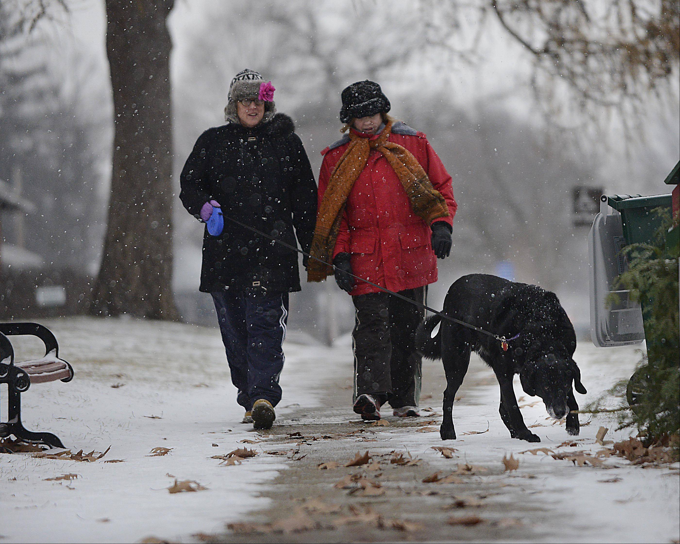 Sisters Ann and Gail Vermillion walk their rescue dog Bogey, a Labrador and Newfoundland mix, Sunday in the snow in downtown Geneva.