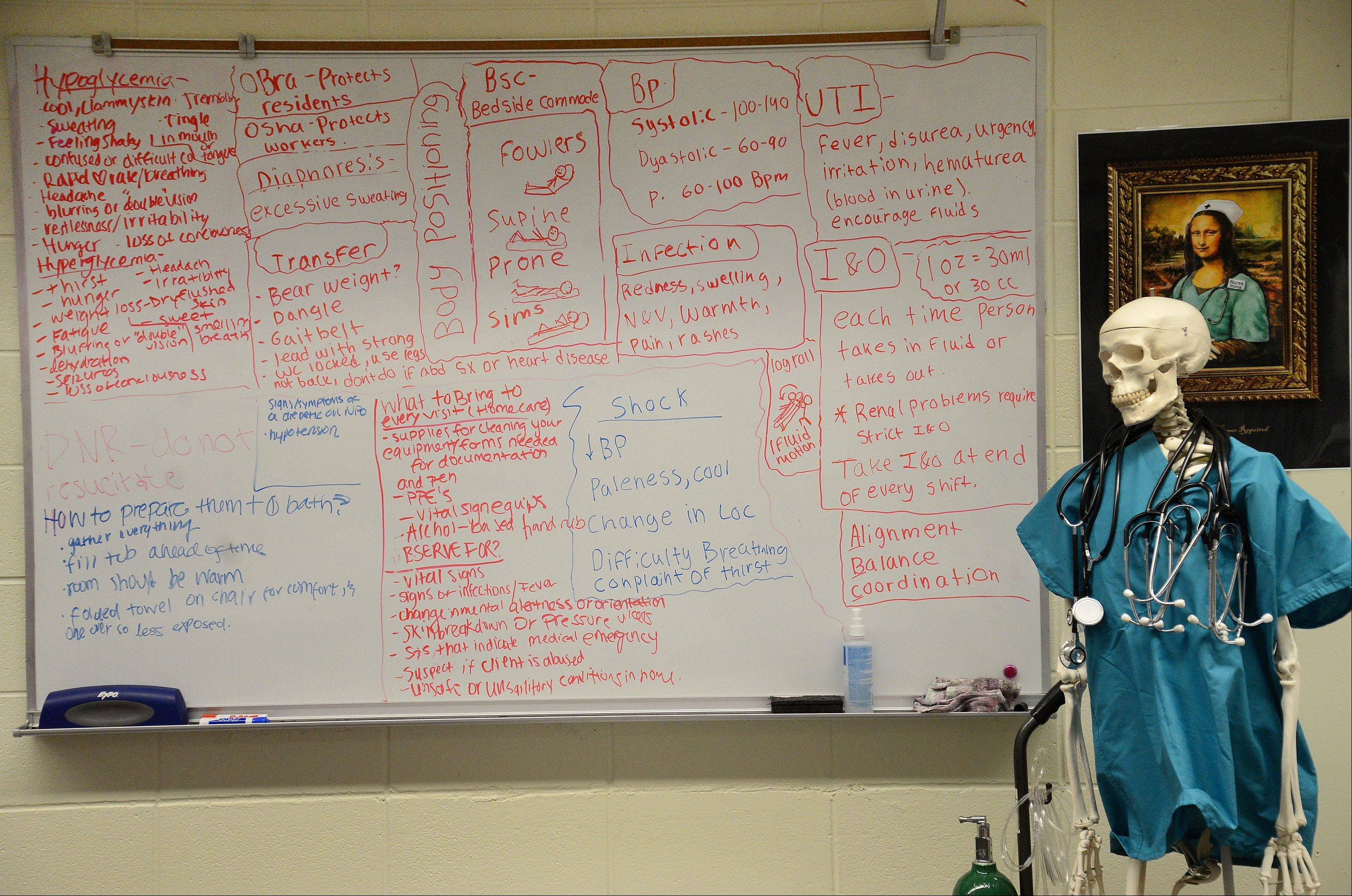 A whiteboard full of information and a skeleton are part of the nursing lab classroom at Wheeling High School.
