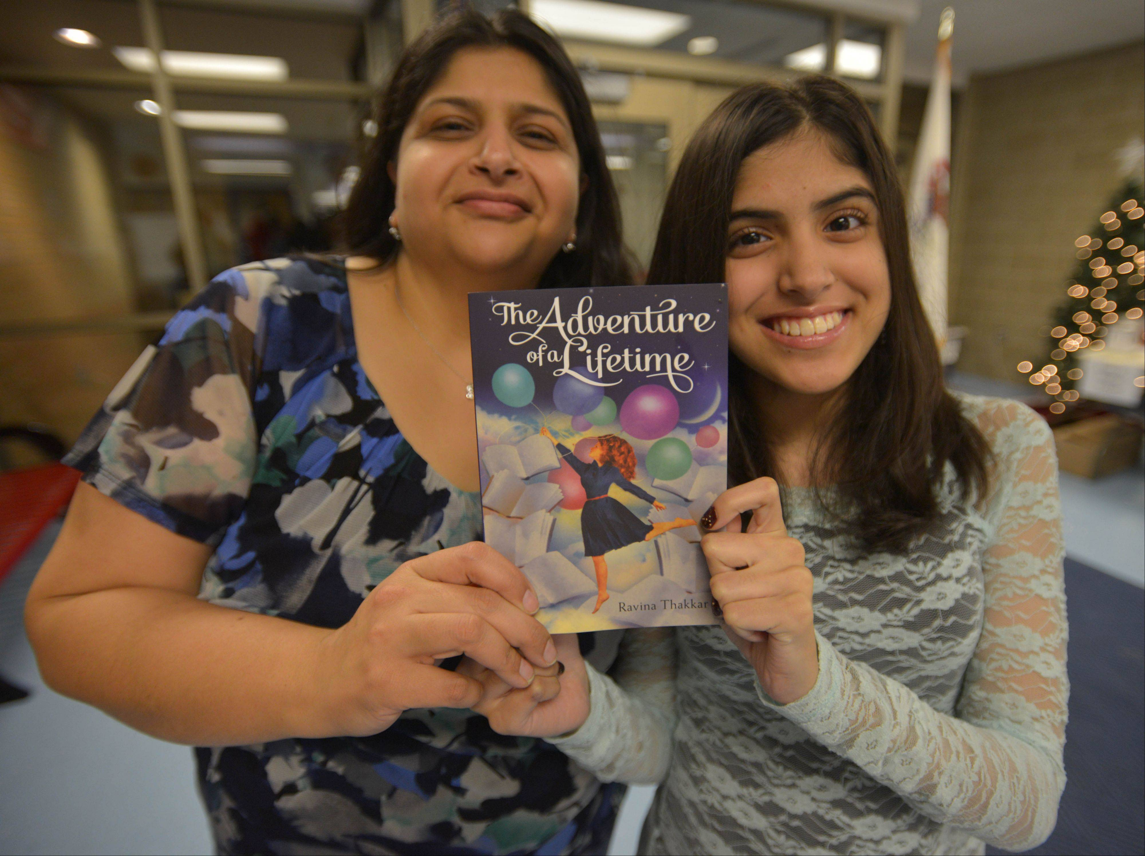 Instead of requesting a dream vacation or a chance to swim with dolphins, Ravina Thakkar asked Make-A-Wish to help her become a published author. Ravina and her mom, Krishna, celebrate the success on Ravina's 14th birthday with her novel, published this week by Sourcebooks of Naperville.