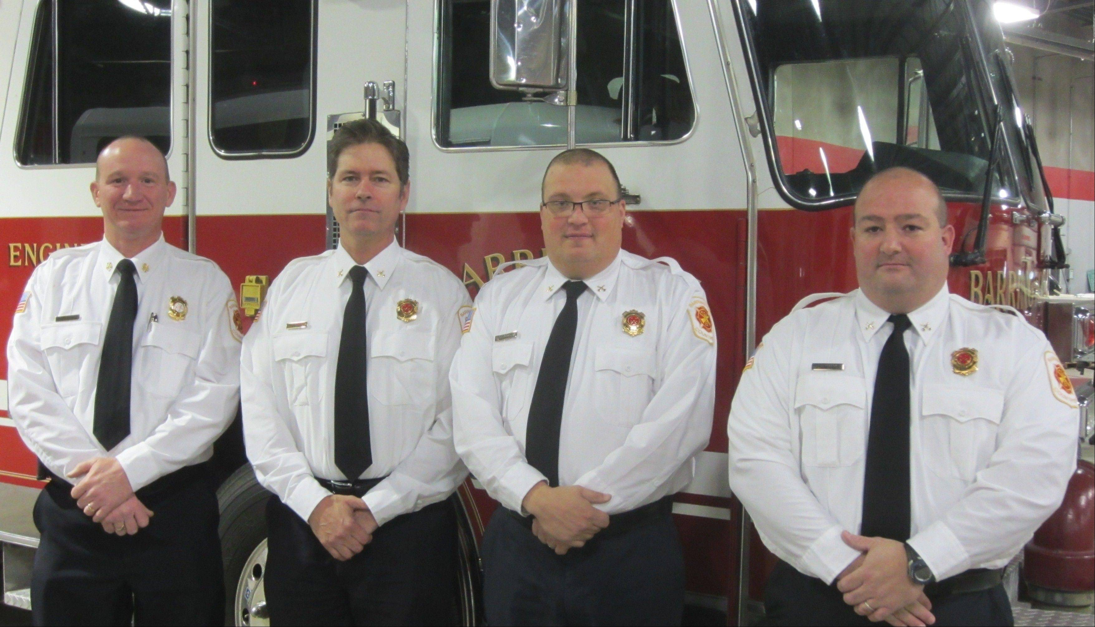 Jeff Swanson, far left, fire chief/administrator of the Barrington Countryside Fire Protection District, is being joined in leadership positions at the newly created department by, from second to left to right, Ron Eilken, Scott Motisi, and Jeff Tress. The district announced Monday that Eilken, Motisi and Tress have been hired as battalion chiefs.
