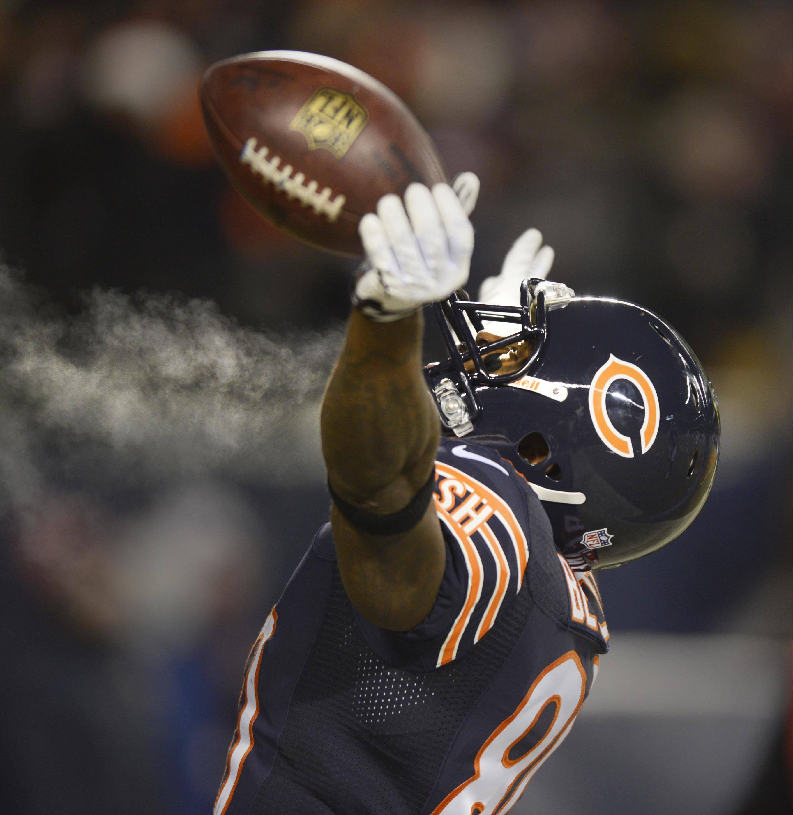 Chicago Bears wide receiver Earl Bennett celebrates his first quarter touchdown against the Dallas Cowboys Monday at Soldier Field in Chicago. The Bears would go on to win 45-28.