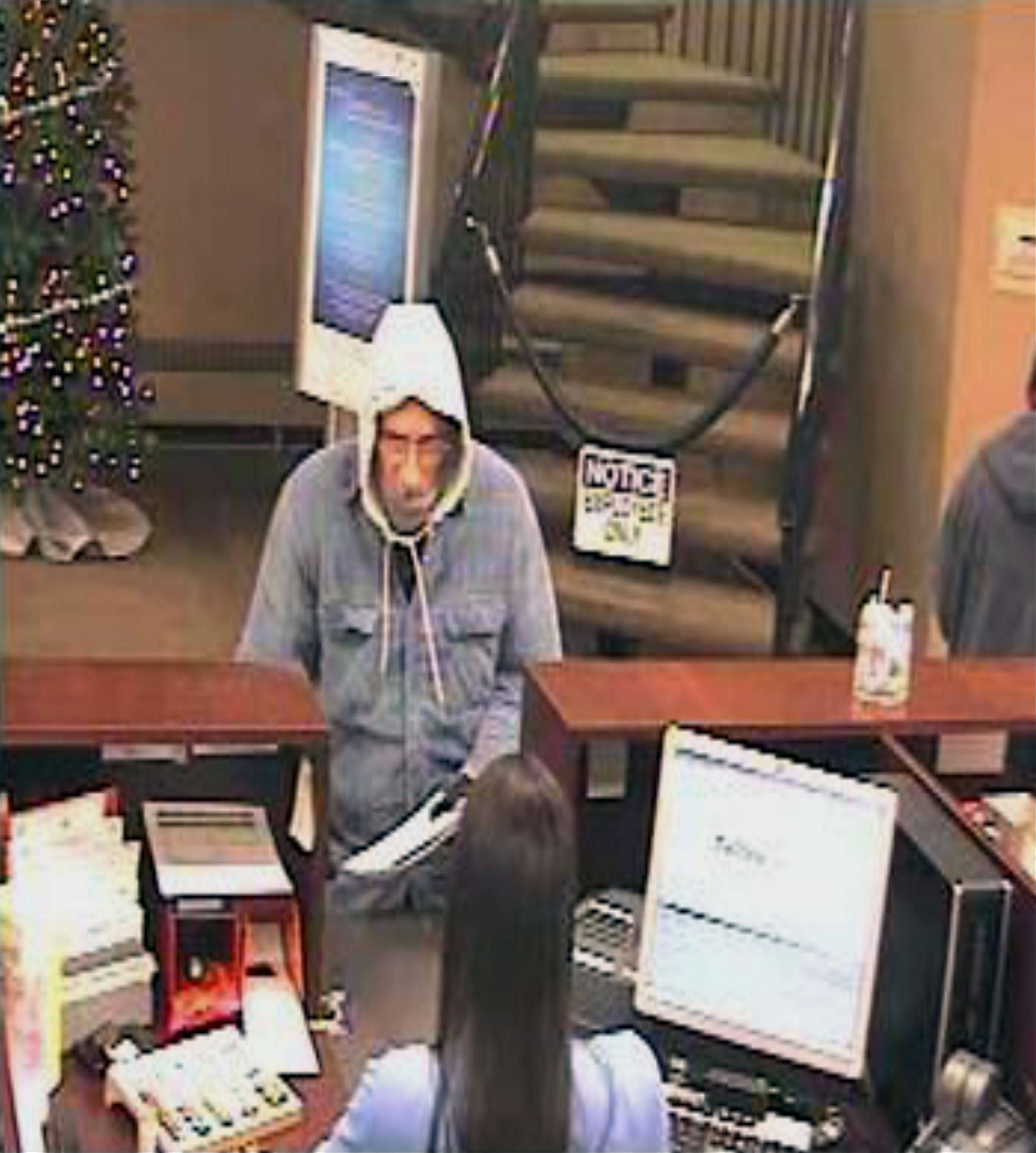 Police and FBI officials are searching for this man, who they say robbed a Bensenville bank Monday morning.