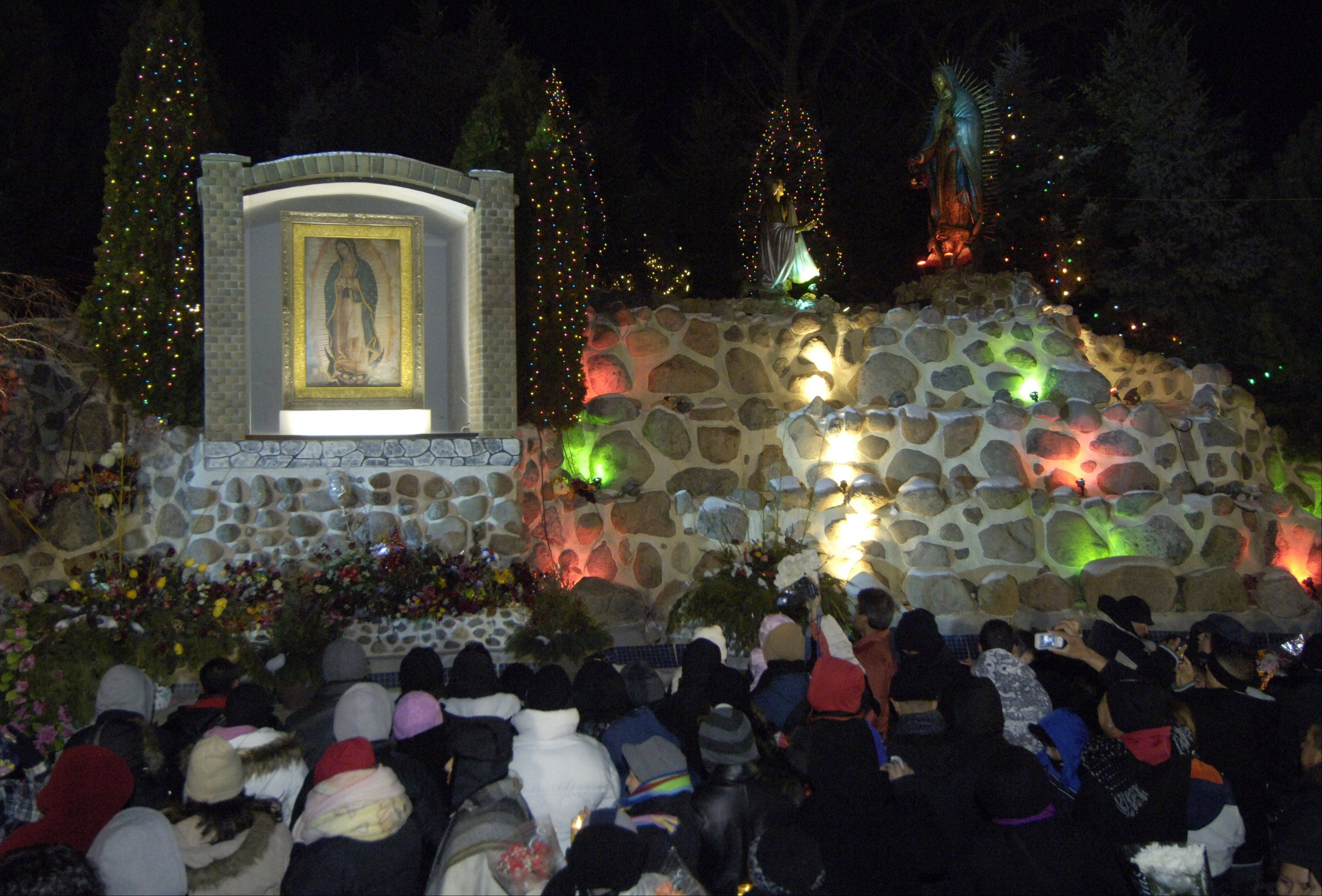 A crowd gathers at the shrine during the first night of the Feast of Our Lady of Guadalupe celebration in 2009 at Maryville in Des Plaines.