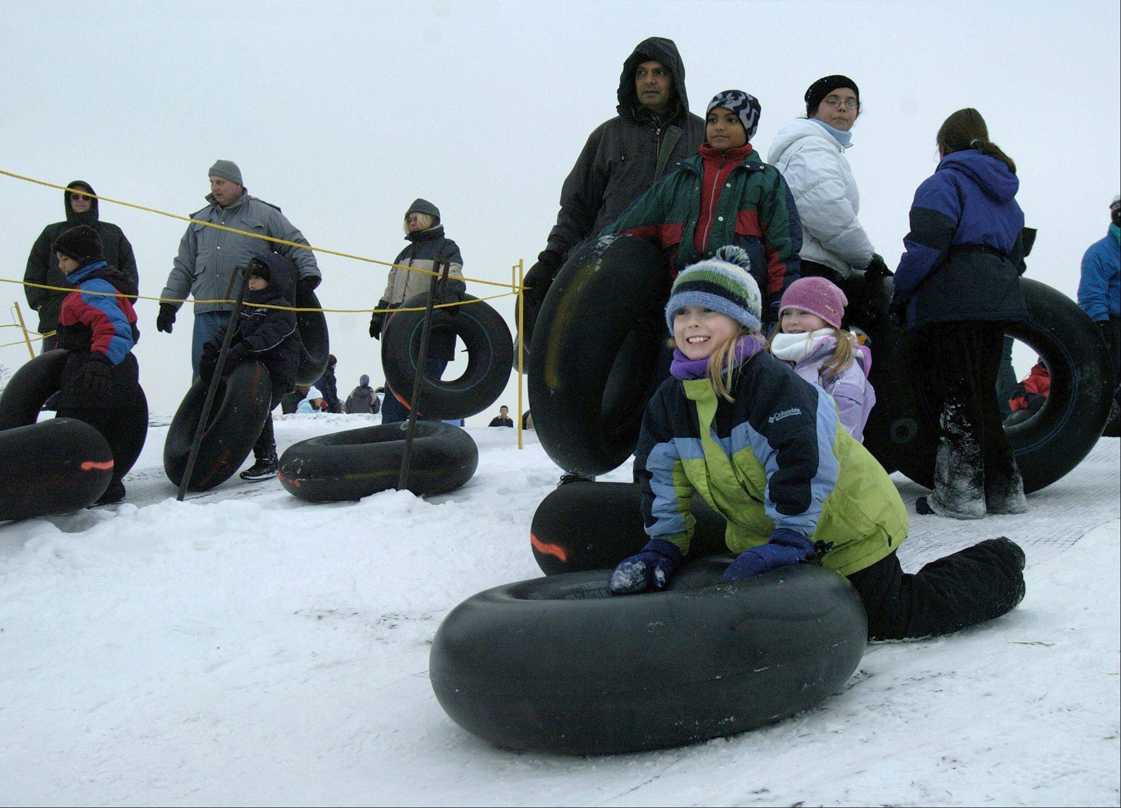 The tubing hill at Mount Hoy at Blackwell Forest Preserve near Warrenville offers rides down an 800-foot run.