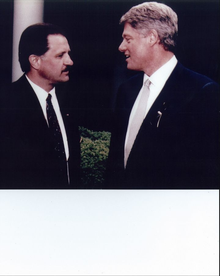 ATF agent Mark Rusin briefs President Bill Clinton on the 1993 massacre at the Branch Davidian compound in Waco, Texas.