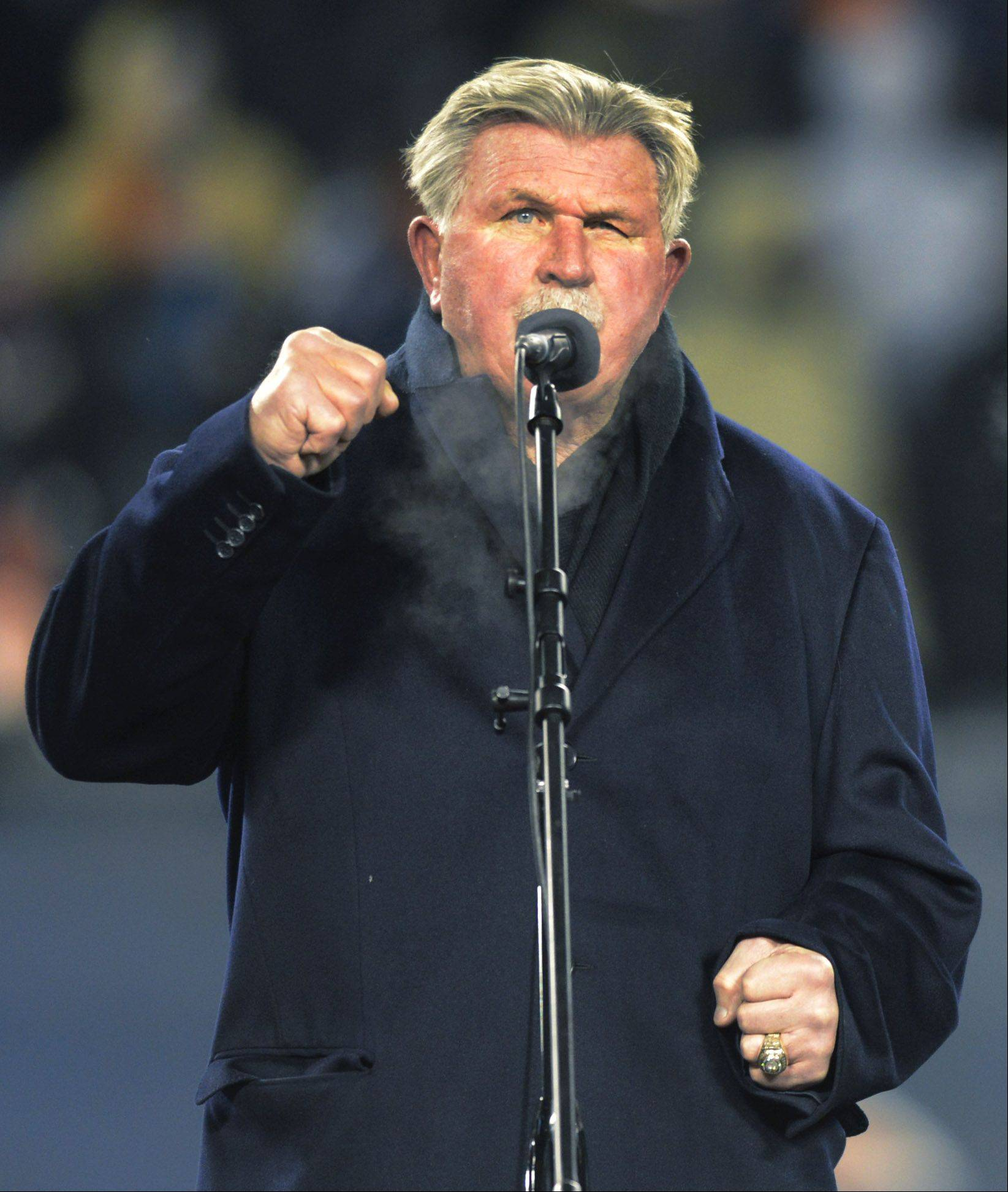 Former Chicago Bears coach and player Mike Ditka speaks as his number is retired.