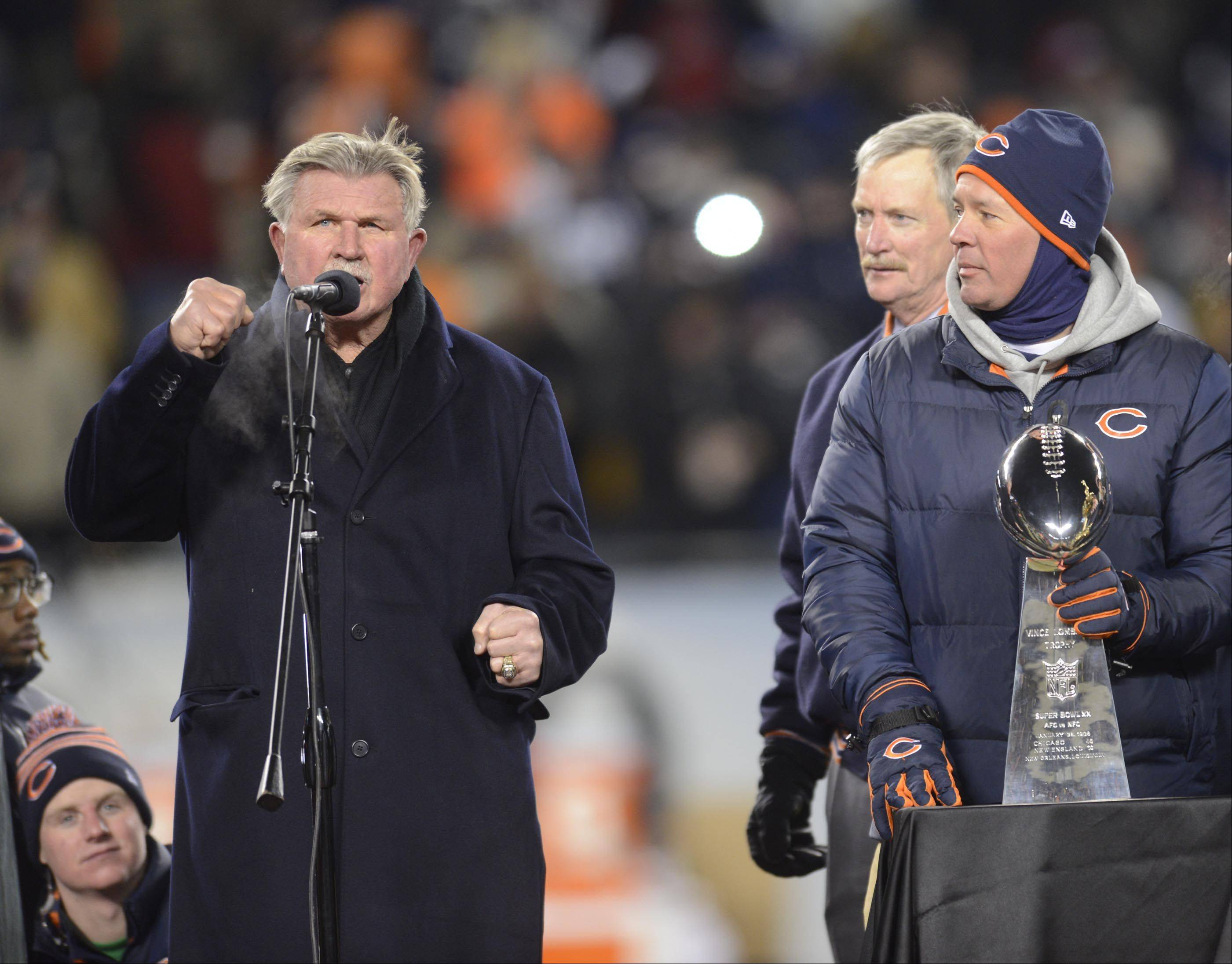 Former Chicago Bears head coach Mike Ditka speaks during his number retirement ceremony.
