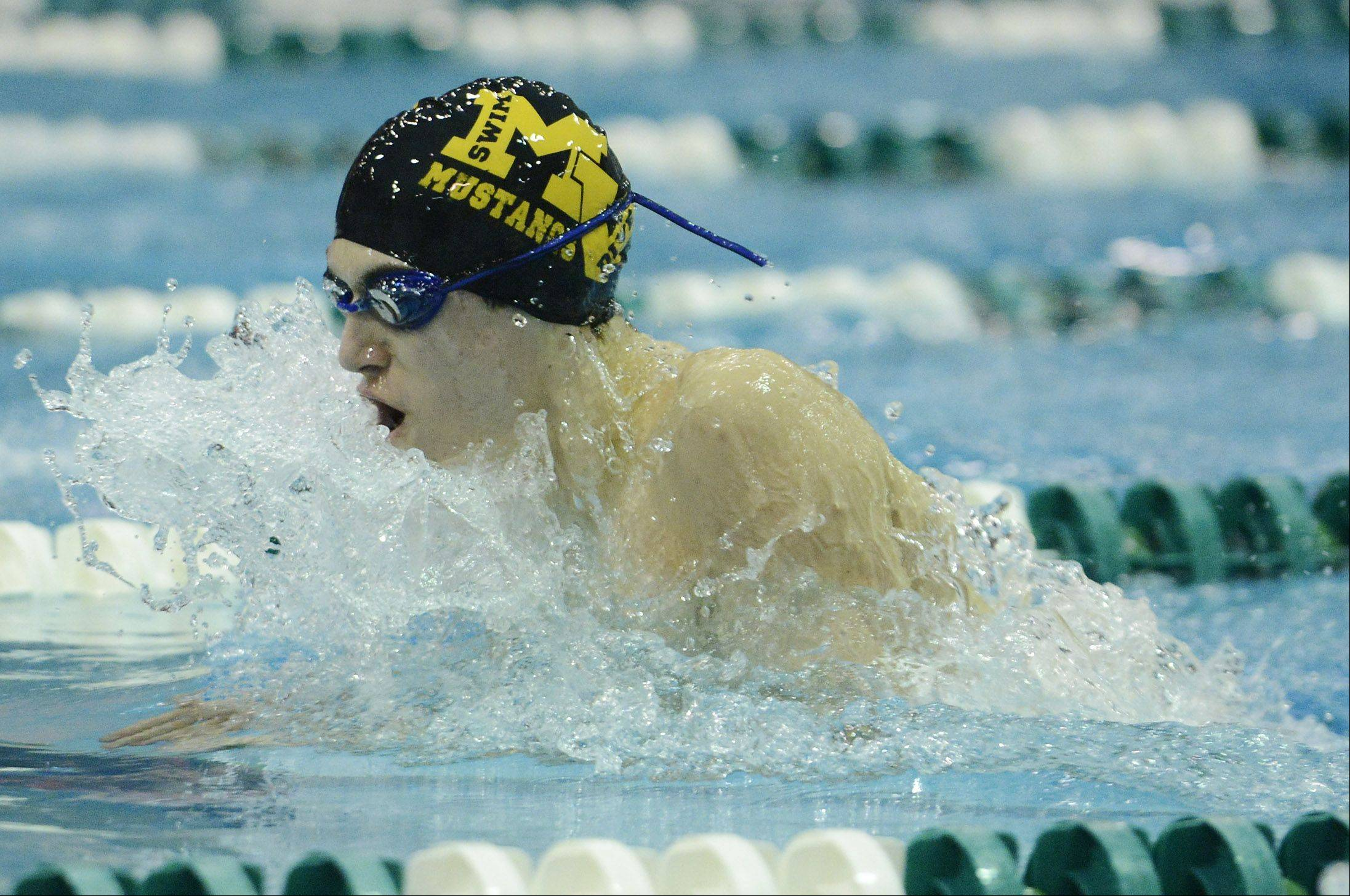Matt Salerno of Metea Valley swims toward a sixth-place finish in the 100-yard breaststroke during the boys state swimming finals at New Trier High School in Winnetka Saturday.
