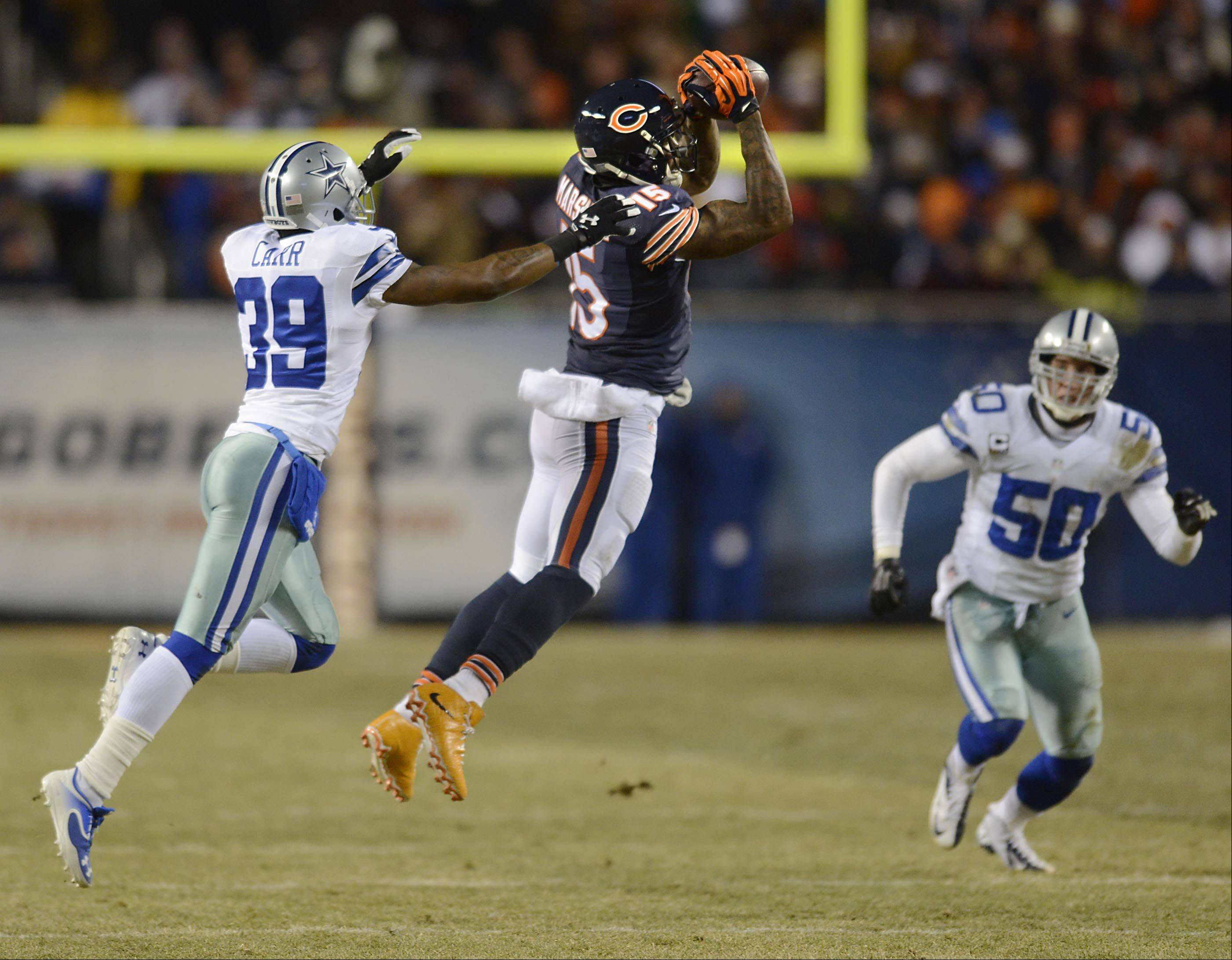 Chicago Bears wide receiver Brandon Marshall makes a catch against the Dallas Cowboys.