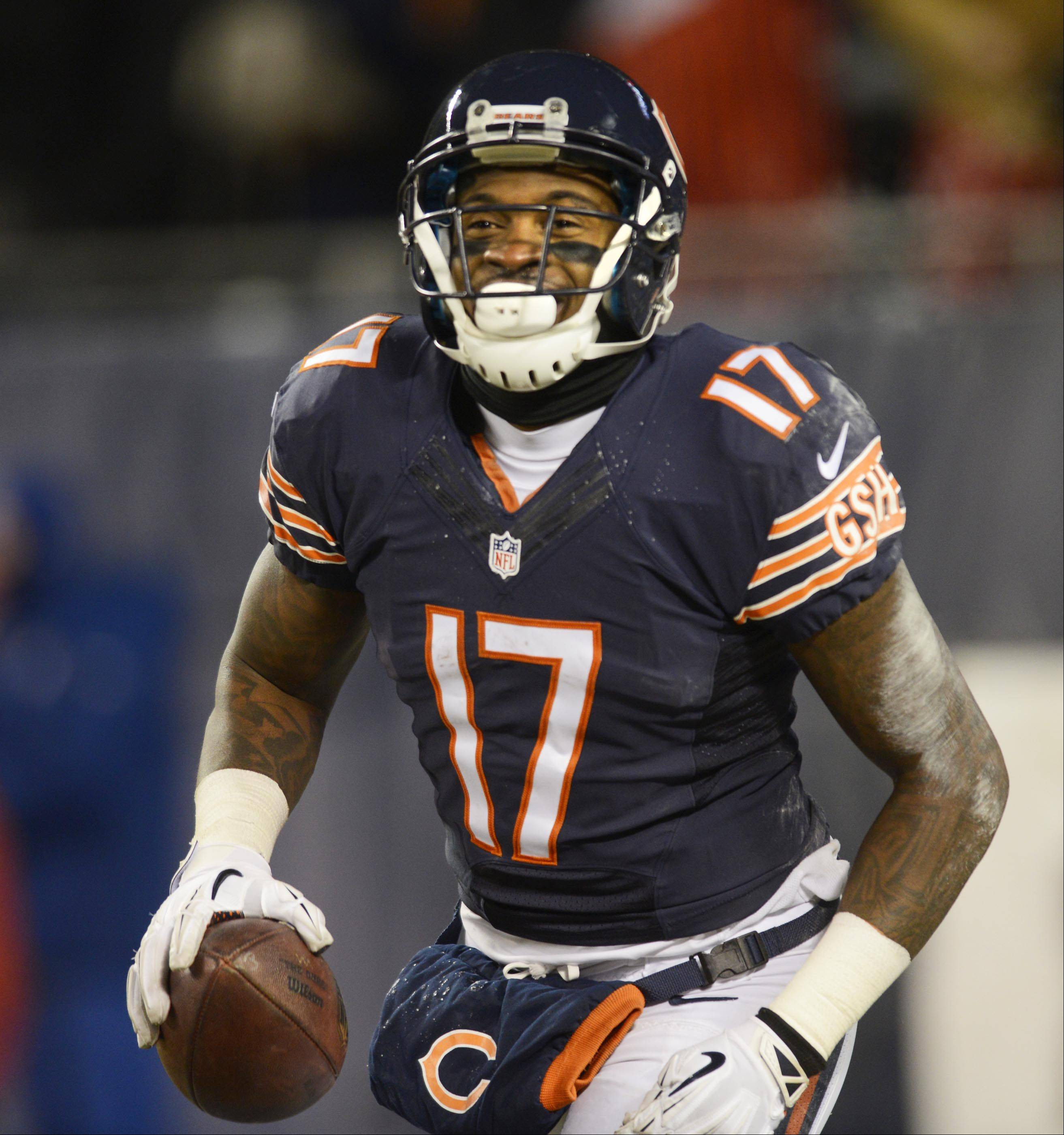 Chicago Bears wide receiver Alshon Jeffery laughs after a first-half touchdown.