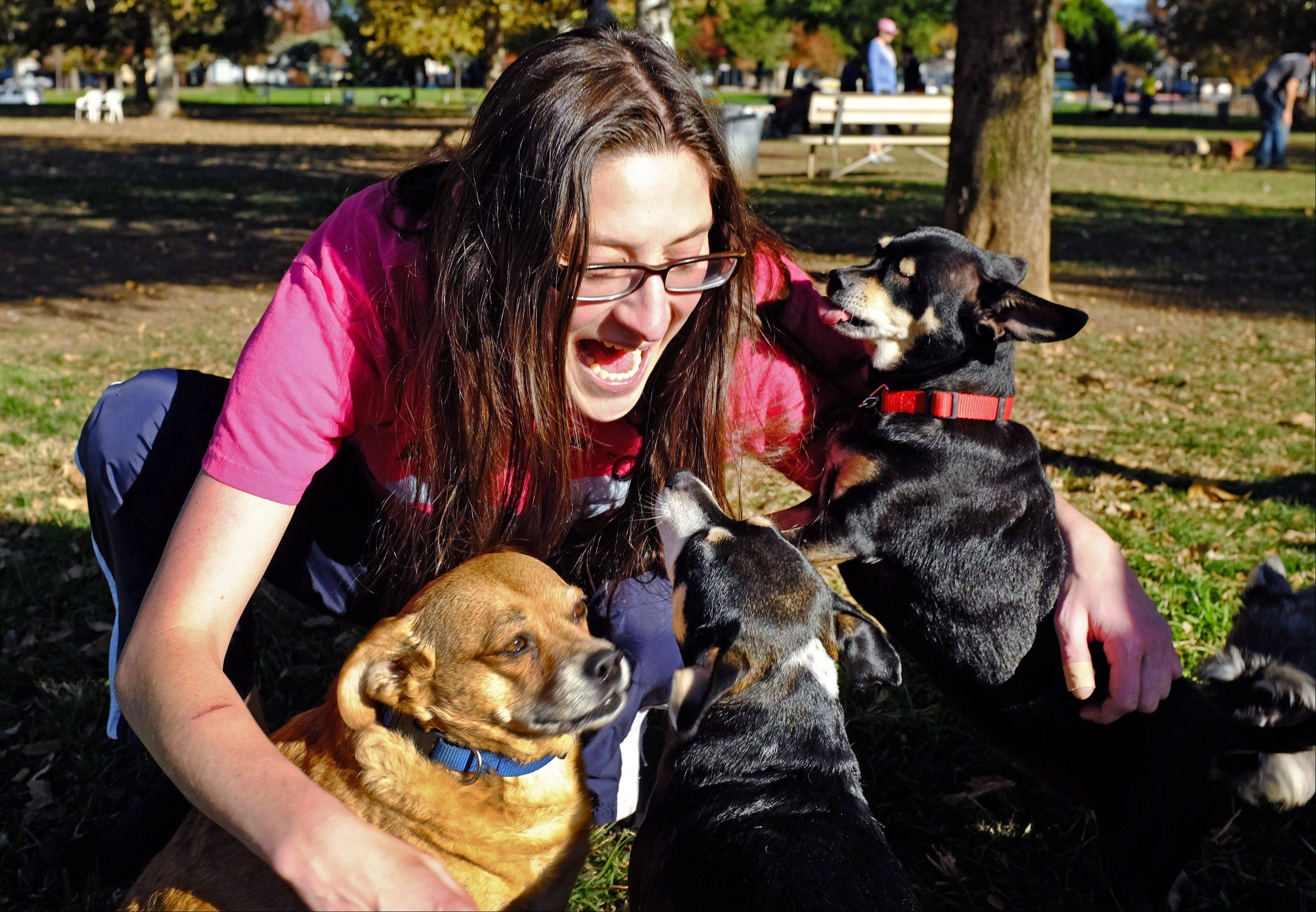 Cambria Hankin talks to her three dogs — Buddy, left, Riah and Stitch — at the Sepulveda Basin Dog Park in Los Angeles. Dr. Gary Weitzman, president of the San Diego Humane Society, has worked with tens of thousands of stray dogs over the last quarter century and says there is no question that pets and people communicate.