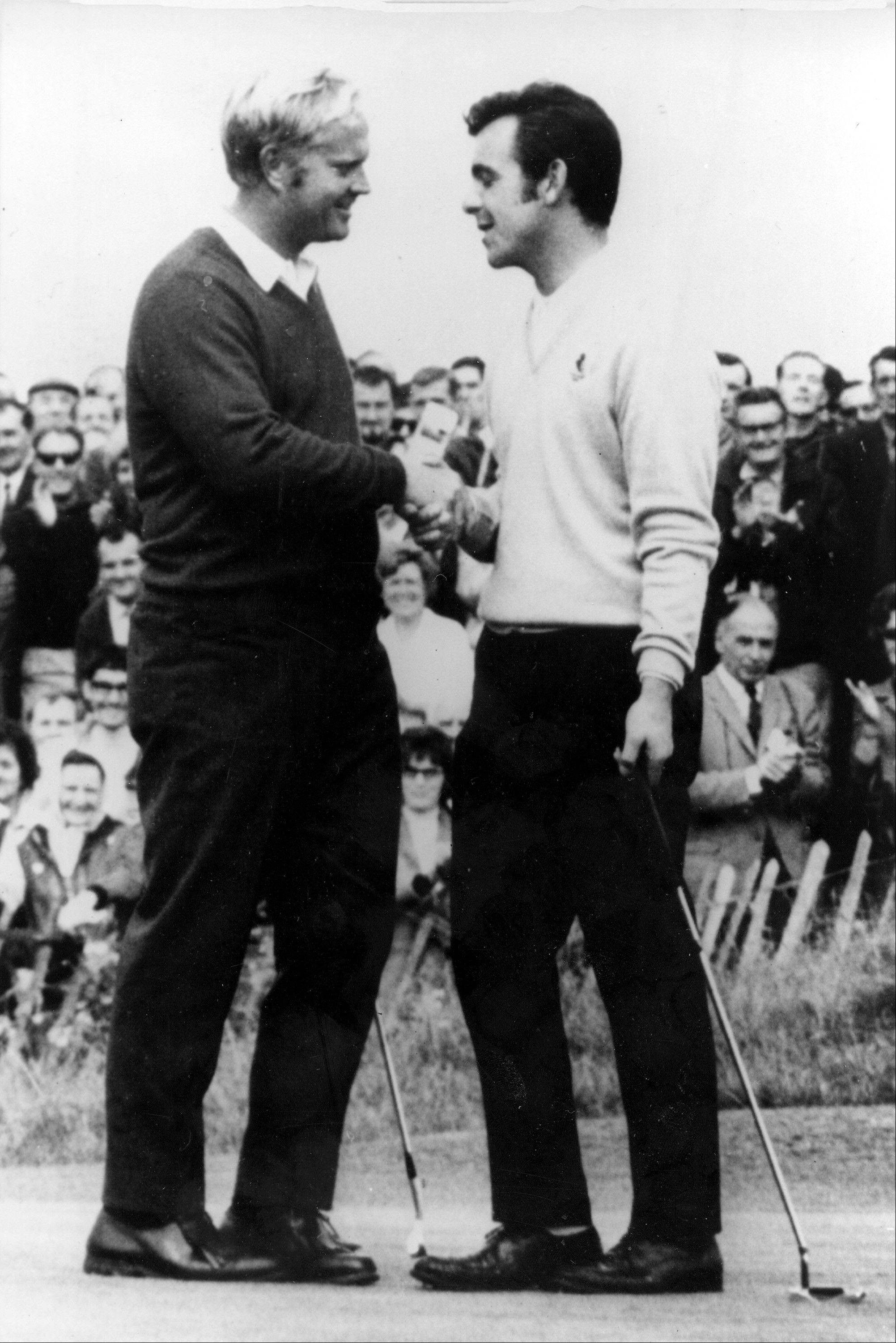 Jack Nicklaus, left, and Tony Jacklin of Great Britain combined for one of the most endearing moments in golf history in the 1969 Ryder Cup when Nicklaus made his putt on the final hole to knot the team score at 16-apiece and then picked up Jacklin's marker as he faced a two-foot putt.