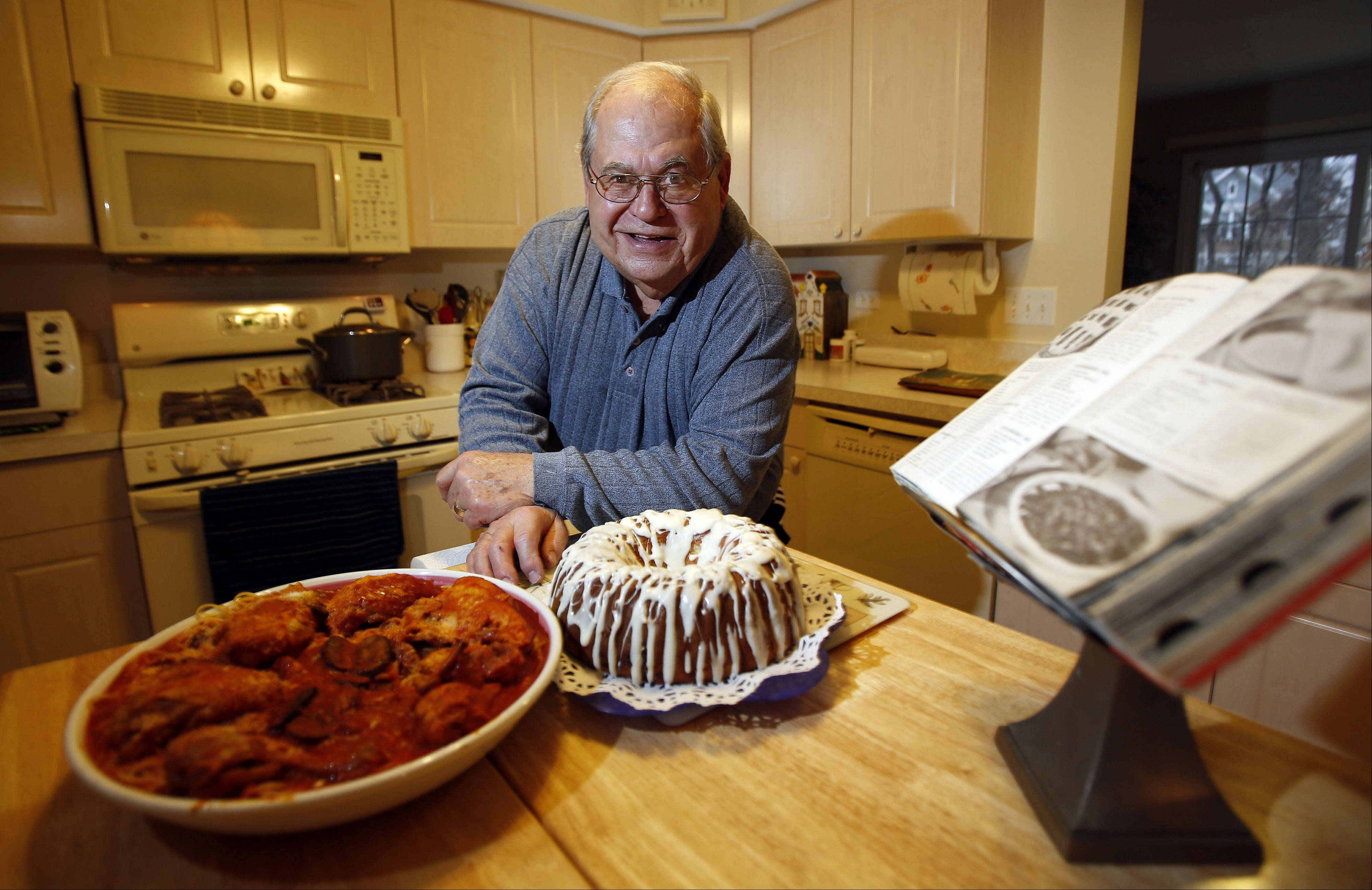Cook of the Week Louis Margiotta of Streamwood shows off his raspberry pound cake and his pasta with chicken gravy.