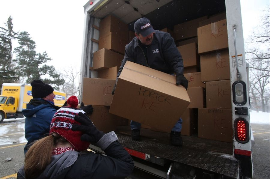 Volunteer Howard Schnitzer of Lake Villa packs boxes of gifts on a truck Tuesday at One Hope United in Lake Villa. The annual drive gathered nearly 2,700 gifts for children in need.