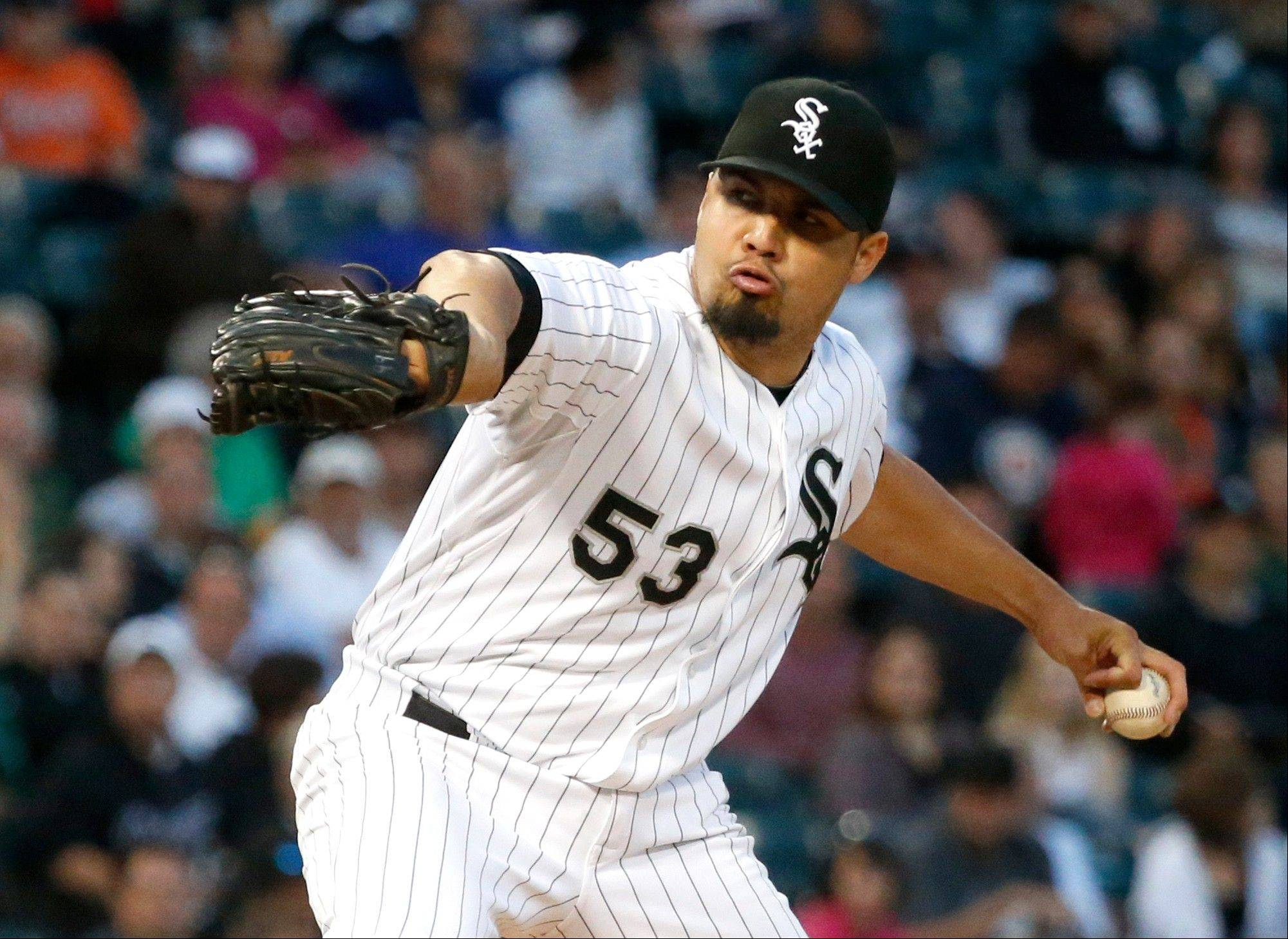 White Sox starting pitcher Hector Santiago, a 25-year-old left-hander who went 4-9 with a 3.56 ERA in 34 games last season, is headed to Los Angeles as part of a three-way trade with the Angels, Diamondbacks and White Sox.