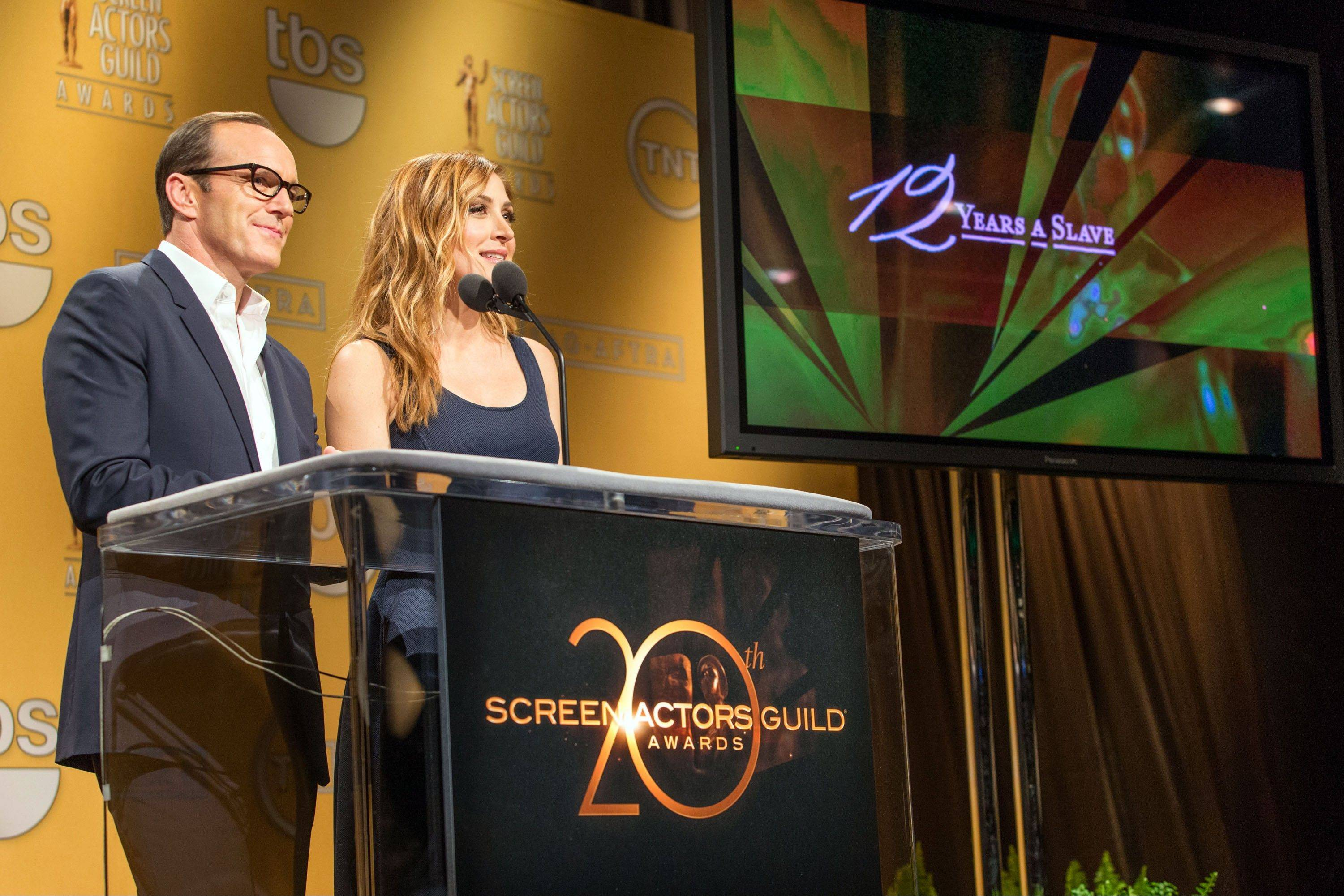 Clark Gregg and SAG Awards Social Media Ambassador Sasha Alexander announce the nominees for the 20th Annual Screen Actors Guild Awards at the Pacific Design Center in Los Angeles on Wednesday.