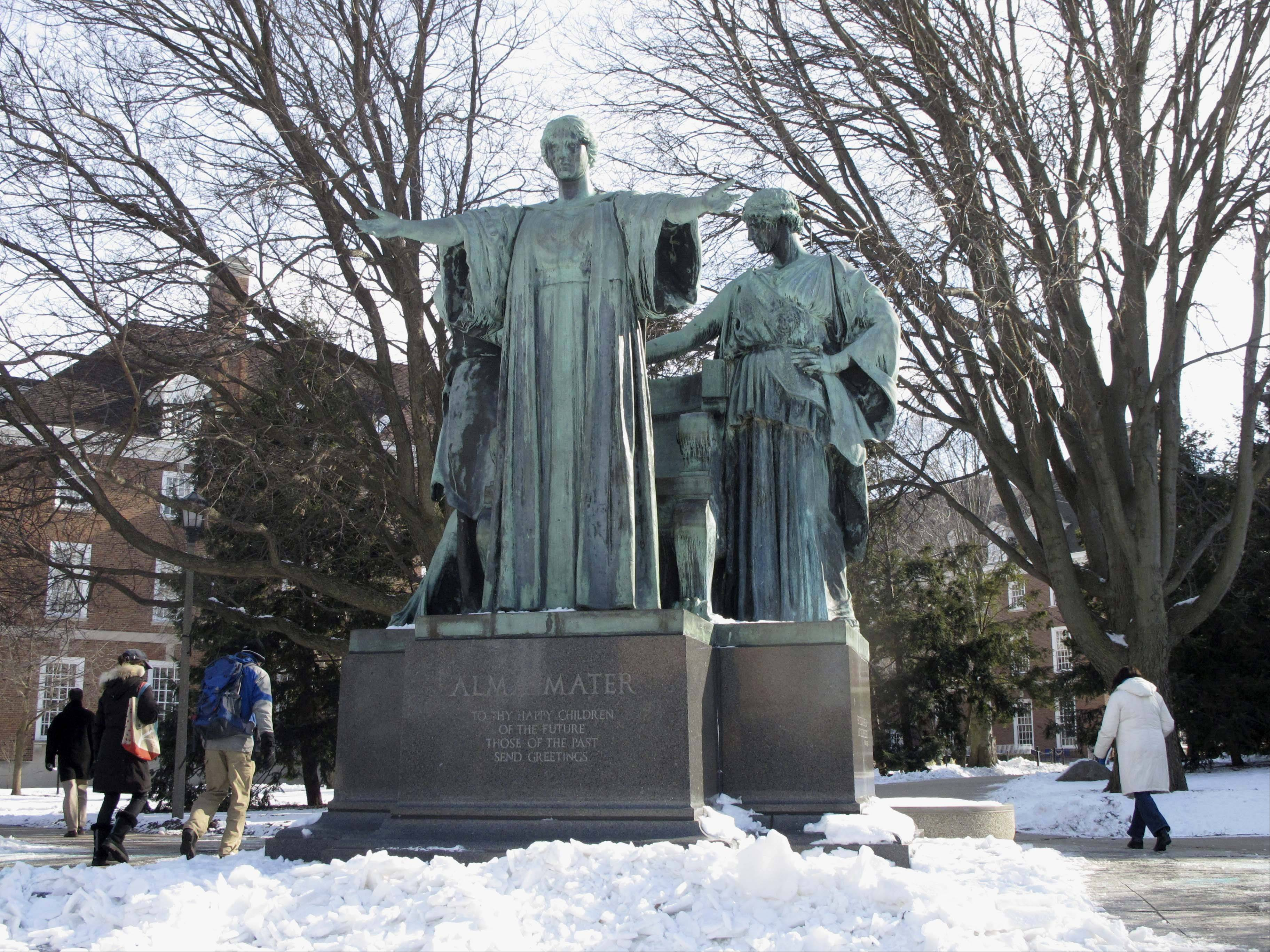 The Alma Mater statue on the University of Illinois campus in Urbana is one of the school�s most famous landmarks. It has been off its pedastal since August 2012. How it should look when it returns is an ongoing debate.