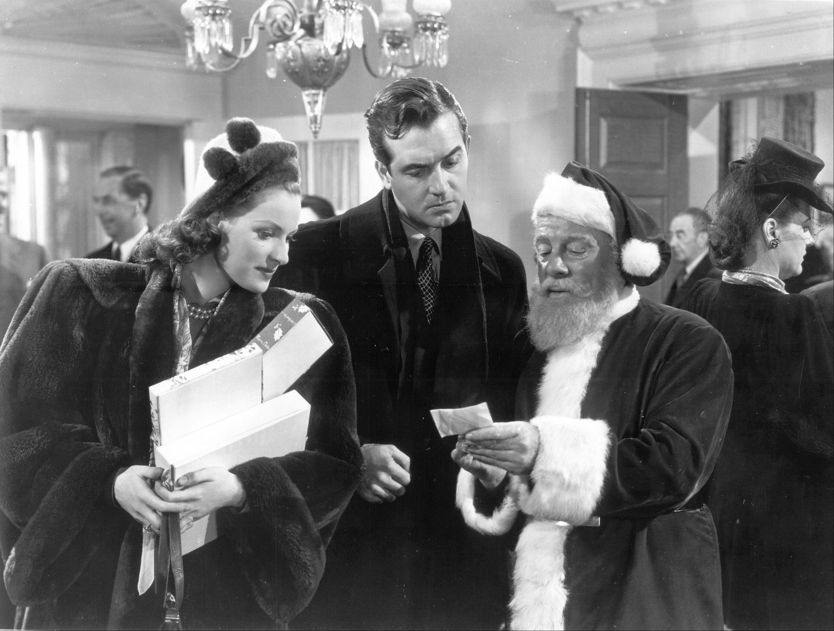 """Miracle on 34th Street"" (1947) starring Maureen O'Hara (as Doris Walker), John Payne (as Fred Gailey) and Edmund Gwenn (as Kris Kringle)."