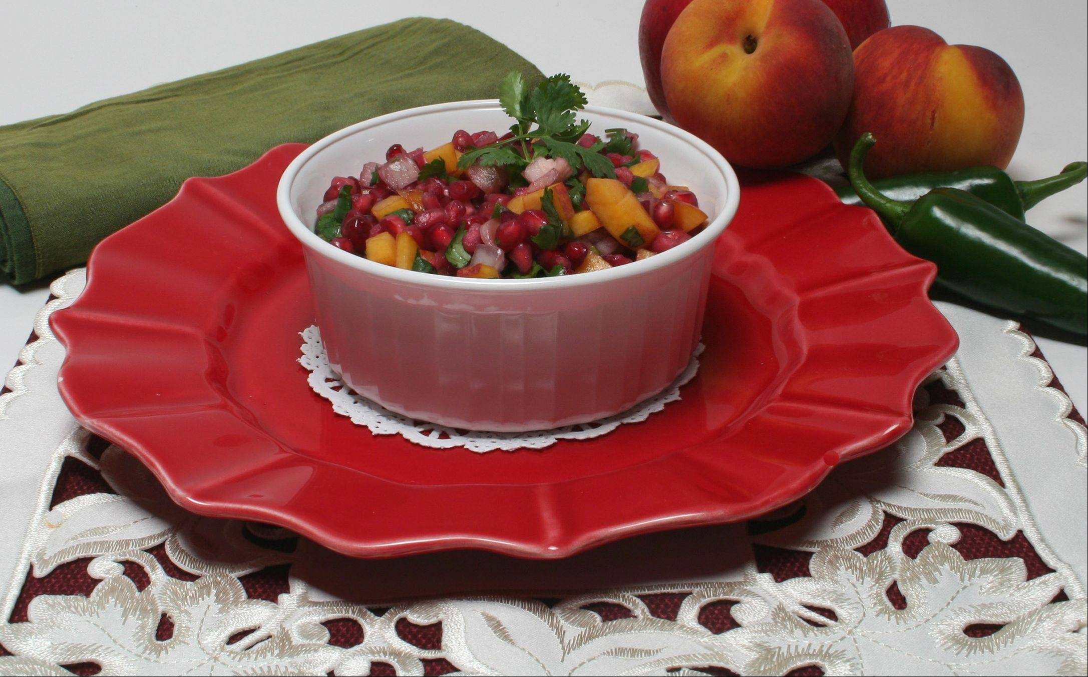 Enjoy Pomegranate Salsa with chips or as a garnish for holiday fish or pork.