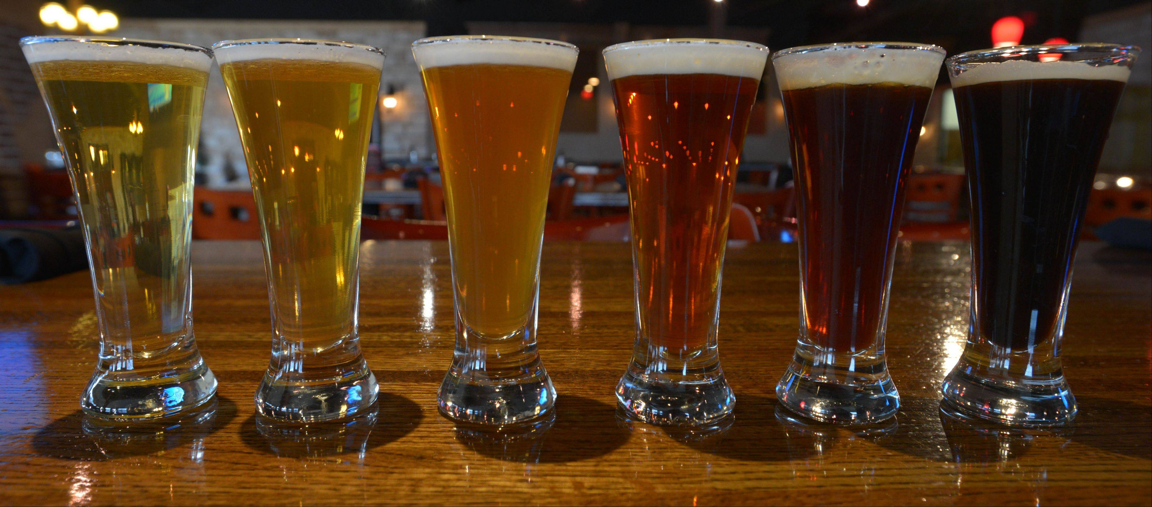 Hopvine offers diners a chance to sample a variety of its house-made beers.