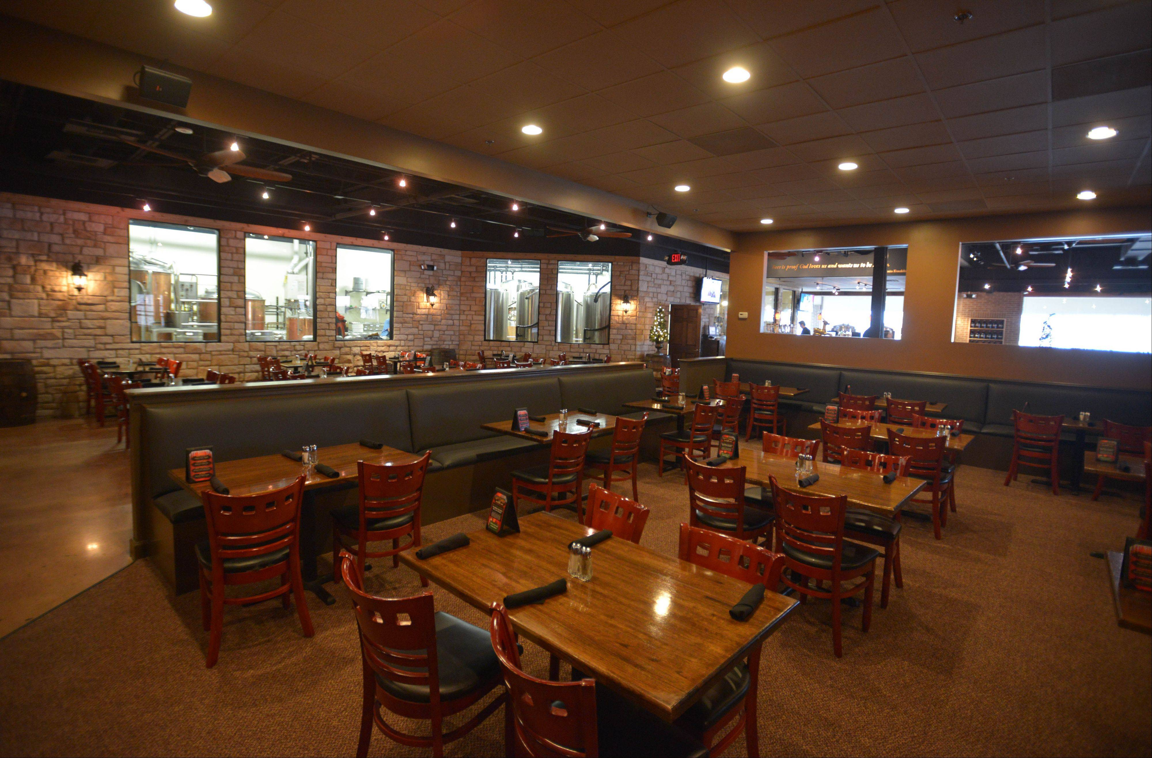 The dining room at Hopvine in Aurora is comfortable for gatherings with friends or dining with family.