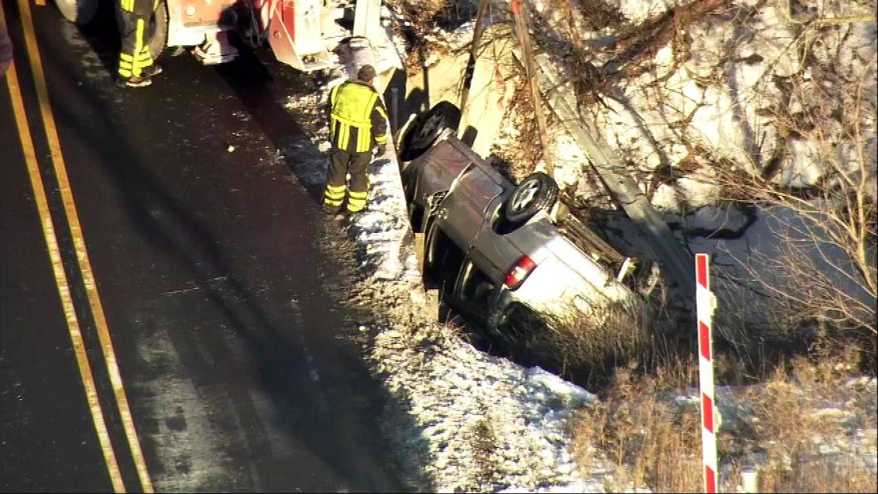 One person was extricated from this vehicle Wednesday following a crash on Kreutzer Road in Huntley, police said.