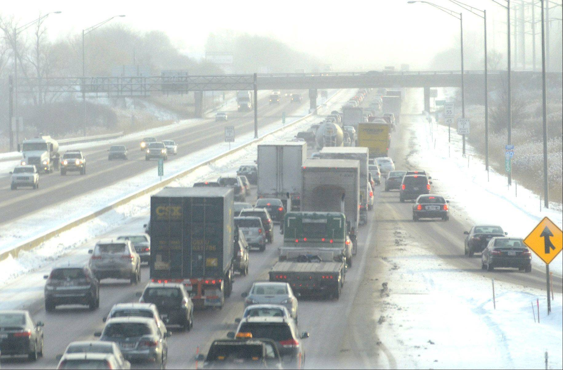 Traffic is backed up on I90 eastbound around Bartlett Road from sloppy driving conditions Wednesday morning.