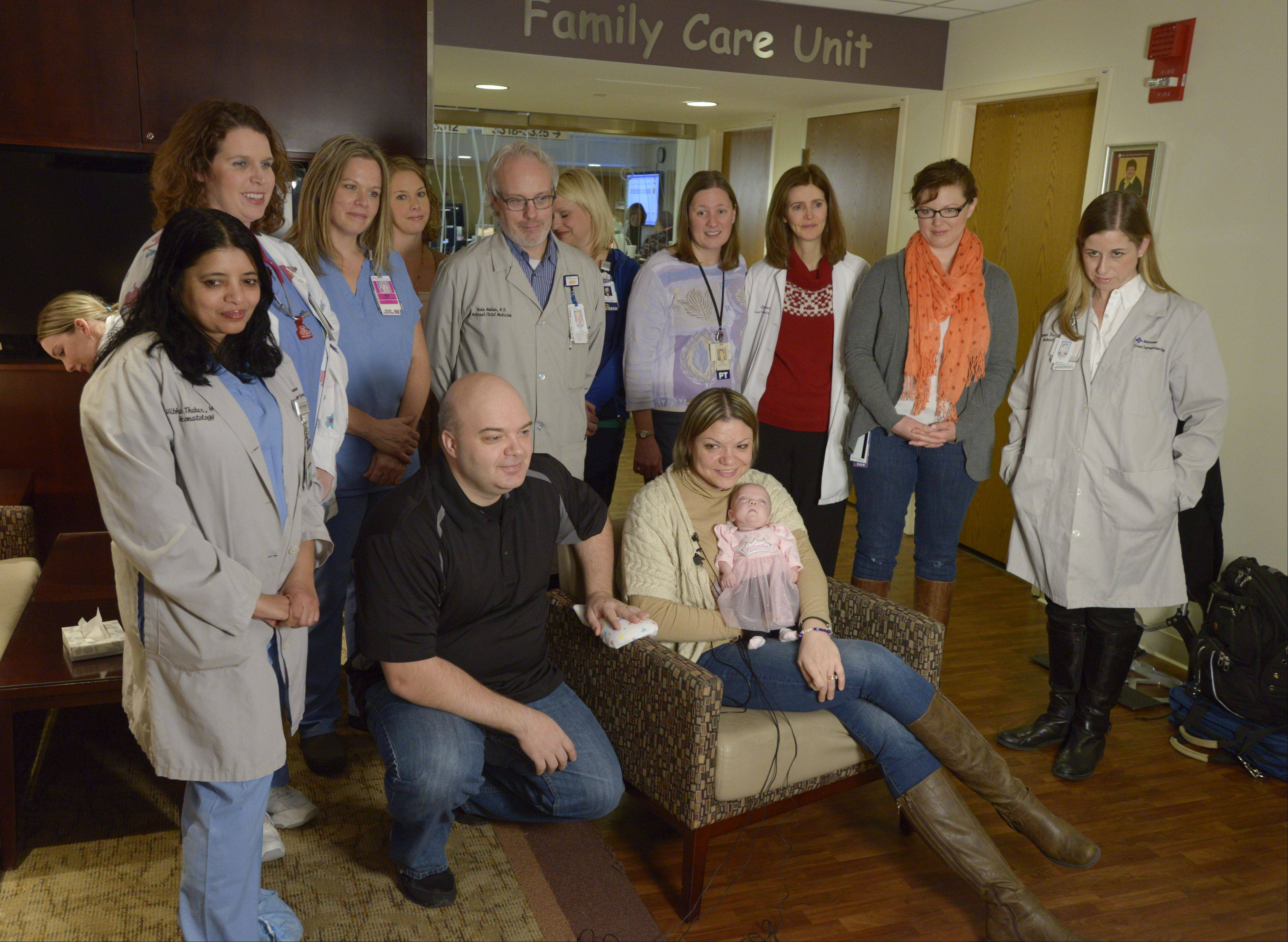 Mark and Ren� Pacyna of Schaumburg prepare to bring their daughter, Meghan, home for the first time Tuesday after a five-month stay at Advocate Good Samaritan Hospital in Downers Grove. Meghan was born 17 weeks premature, weighing a mere 15 ounces and measuring only 8 inches long.
