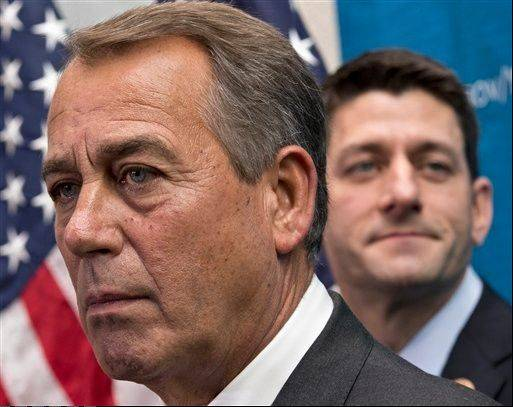 Hours before the House voted to pass the budget deal, Speaker John Boehner repeatedly denounced Tea Party-aligned organizations for their opposition, saying they were seeking to further their own objectives, not those of the Republican Party or the country. Also seen here is House Budget Committee Chairman Rep. Paul Ryan.
