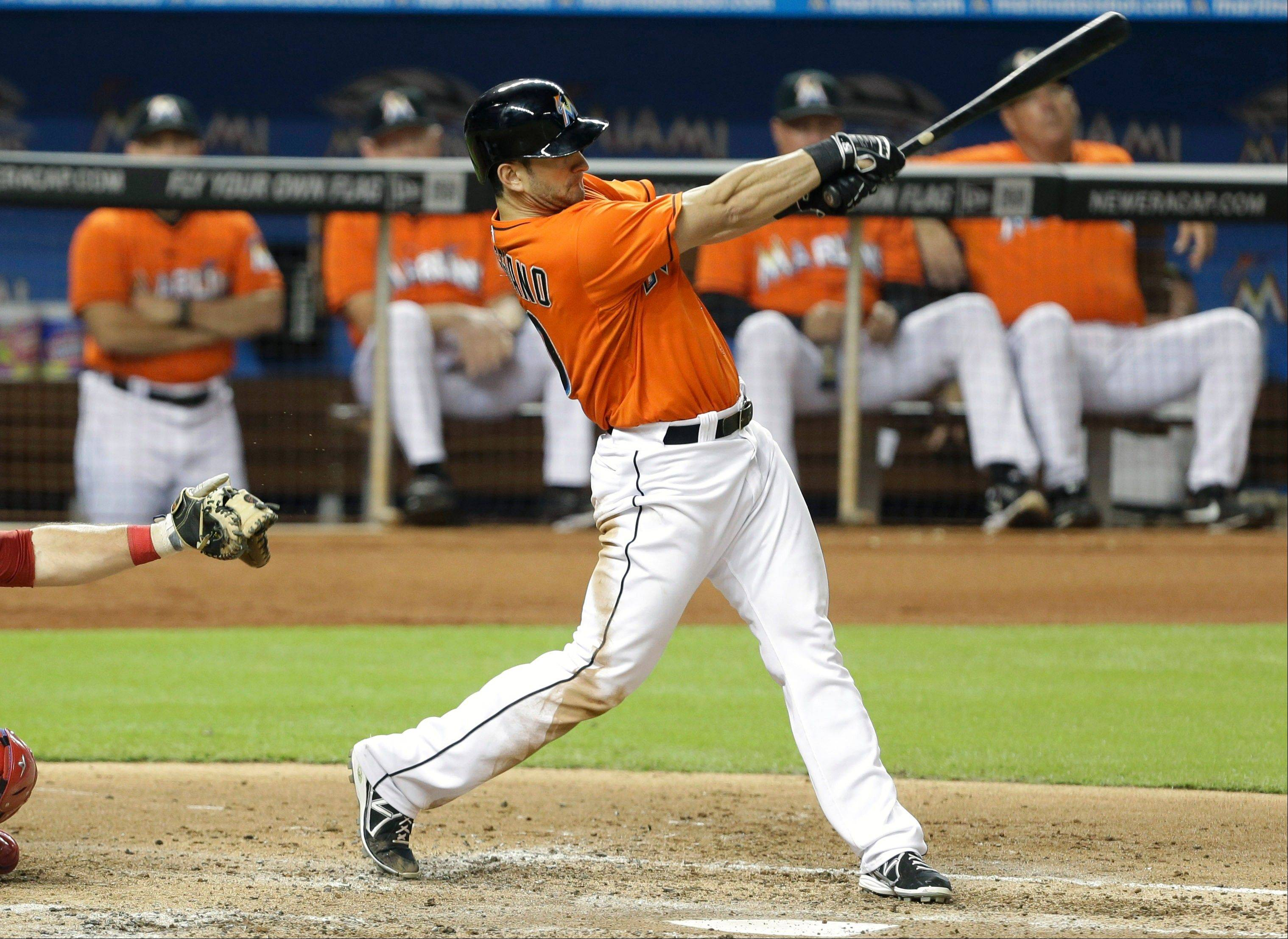 Miami traded right-handed hitting outfielder Justin Ruggiano, above, to the Cubs for left-handed hitter Brian Bogusevic.