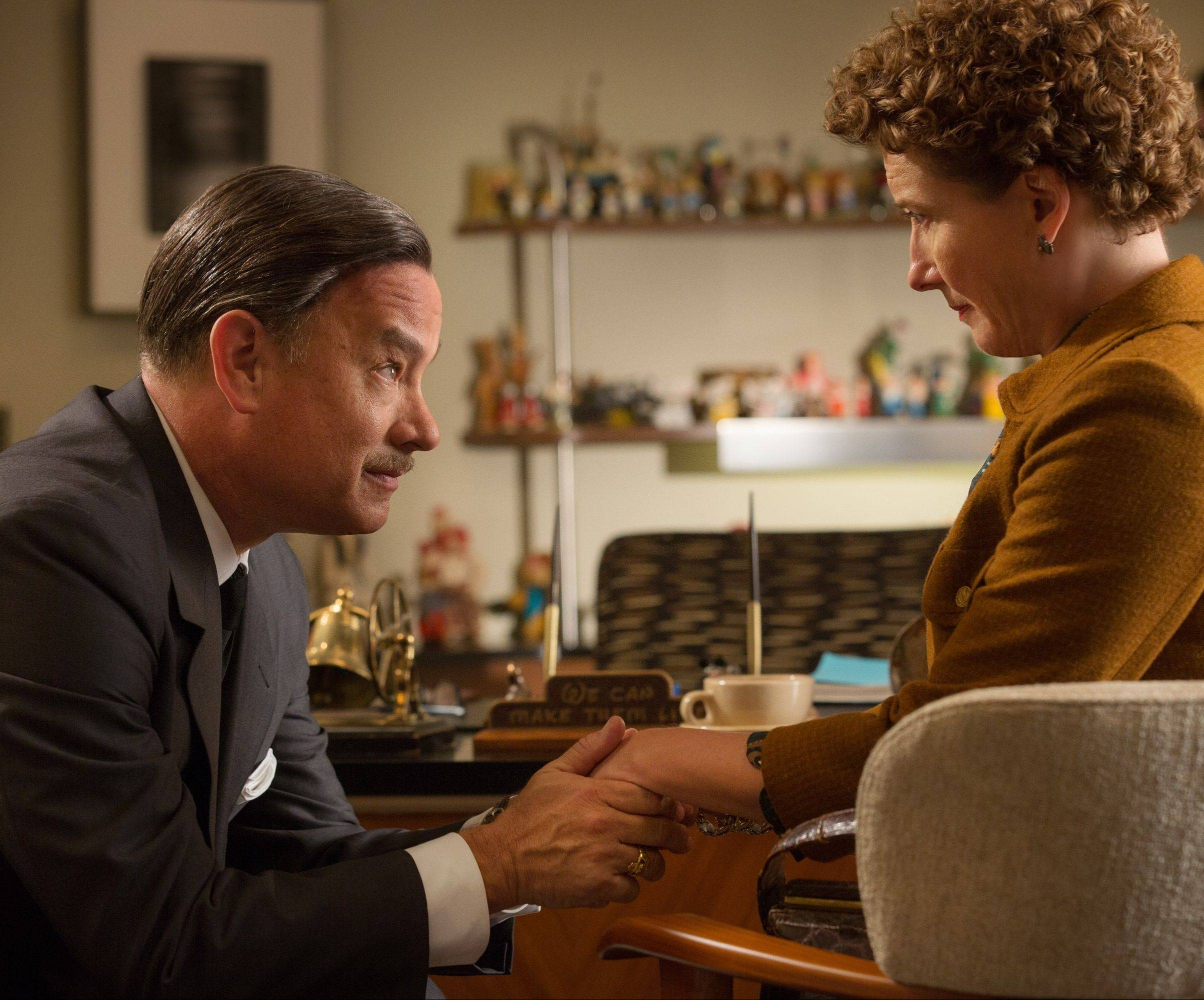 "Walt Disney (Tom Hanks) attempts to seduce ""Mary Poppins"" novelist P.L. Travers (Emma Thompson) into forking over movie rights in ""Saving Mr. Banks."""