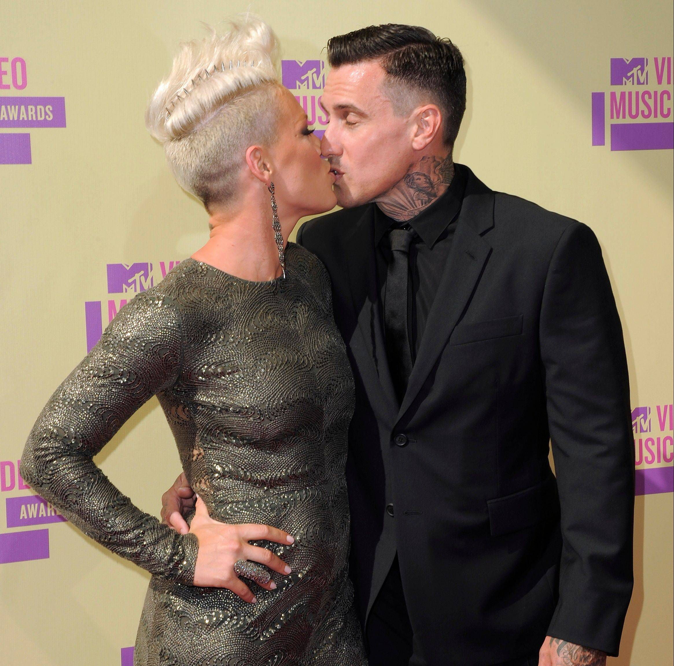 "Pink gives her husband Carey Hart at least partial credit for the success of her Grammy-nominated ""Just Give Me a Reason."""