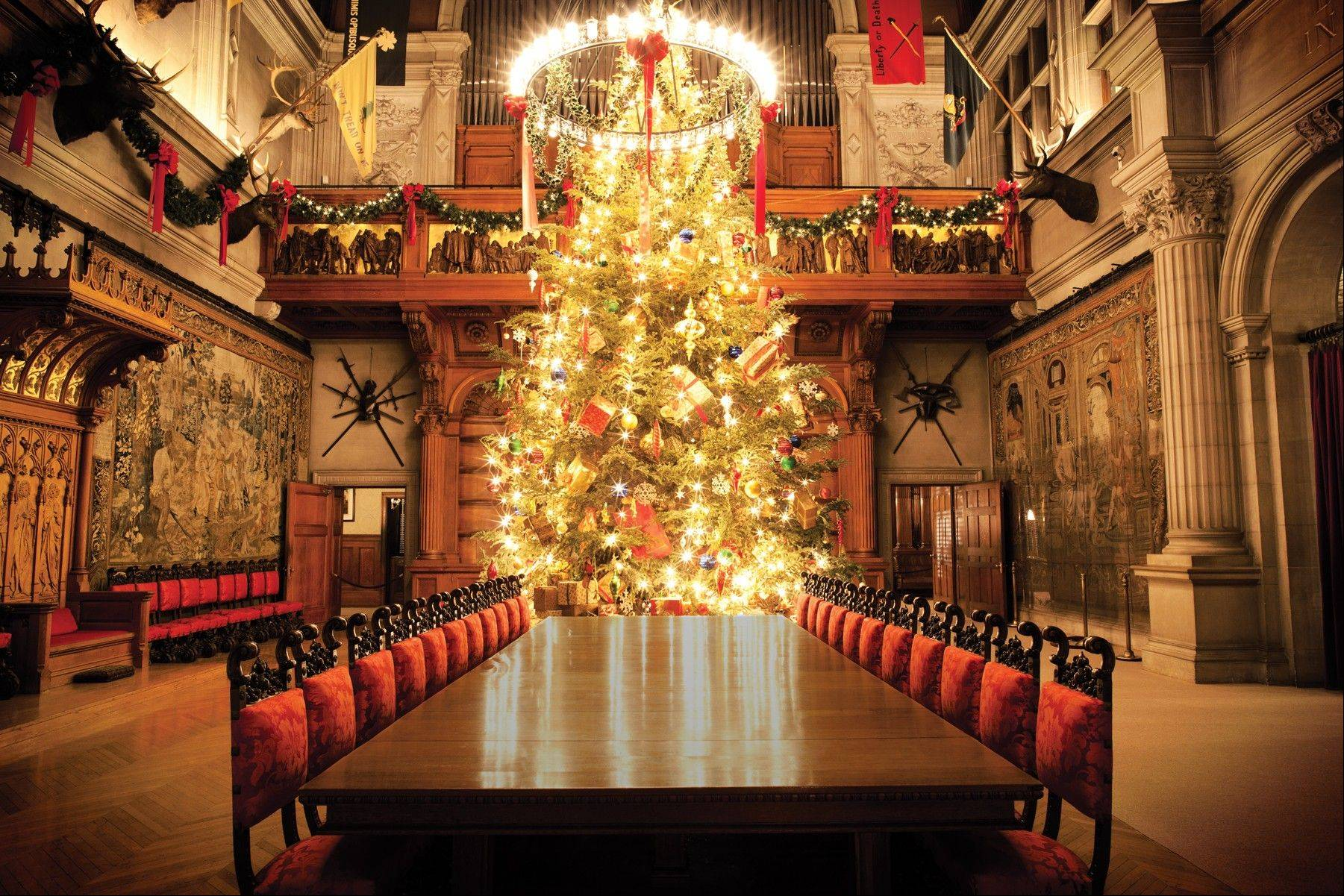 The Biltmore Estate in Asheville, N.C., offers 56 decorated trees in the main house.