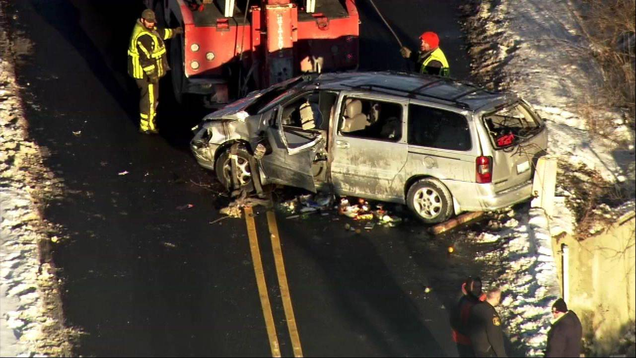 An aerial view of a Wednesday afternoon crash in Huntley that injured two people in the car.