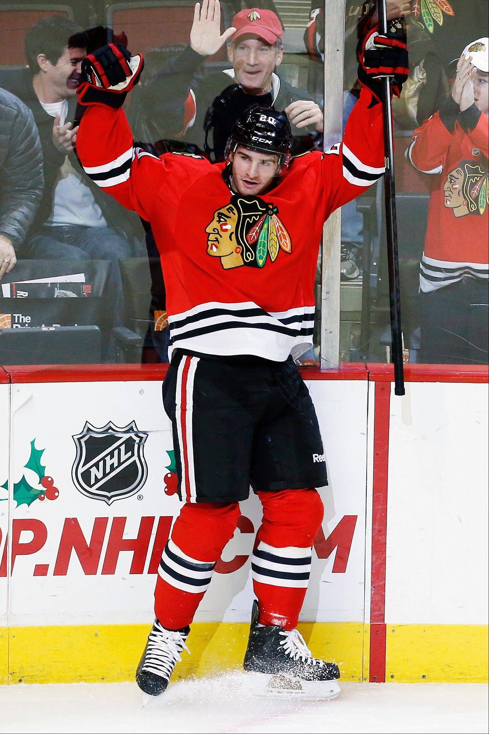 Brandon Saad celebrates scoring a goal against Florida during the third period on Sunday during the Hawks' 6-2 victory.