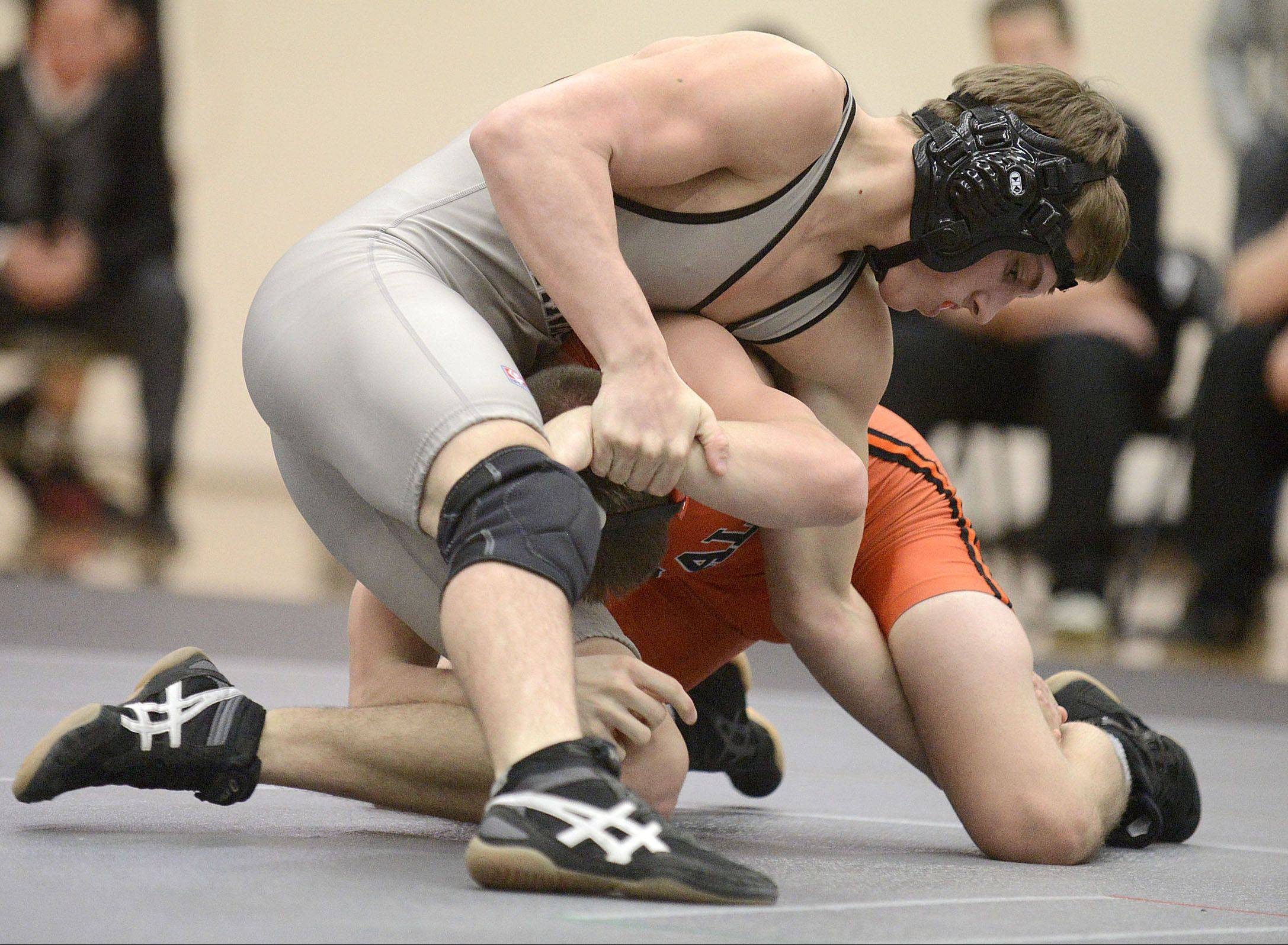 Kaneland's Dane Goodenough won this 138-pound match over DeKalb's Jackson Montgomery on Thursday in Maple Park.